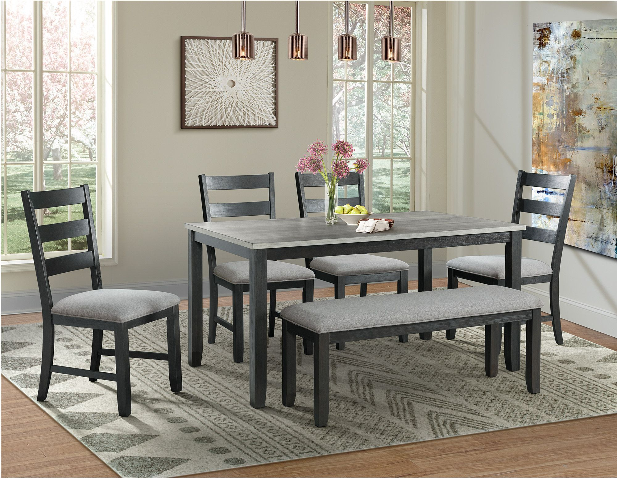 Inspiration about Trendy Kinsler 3 Piece Bistro Sets Within Kona Gray And Black 6 Piece Dining Room Set From Elements Furniture (#19 of 20)