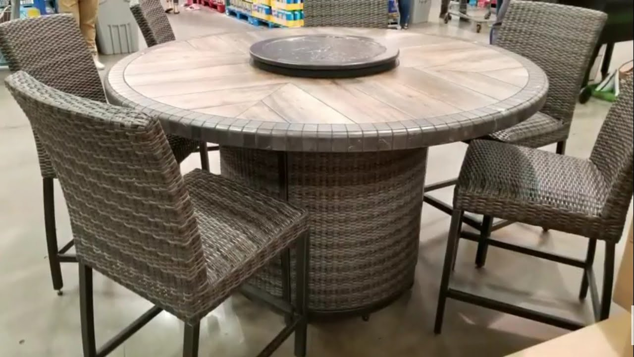 Inspiration about Trendy Northwoods 3 Piece Dining Sets With Costco! Agio 7 Pc High Dinning Set With Fire Table! $1299!!! – Youtube (#15 of 20)