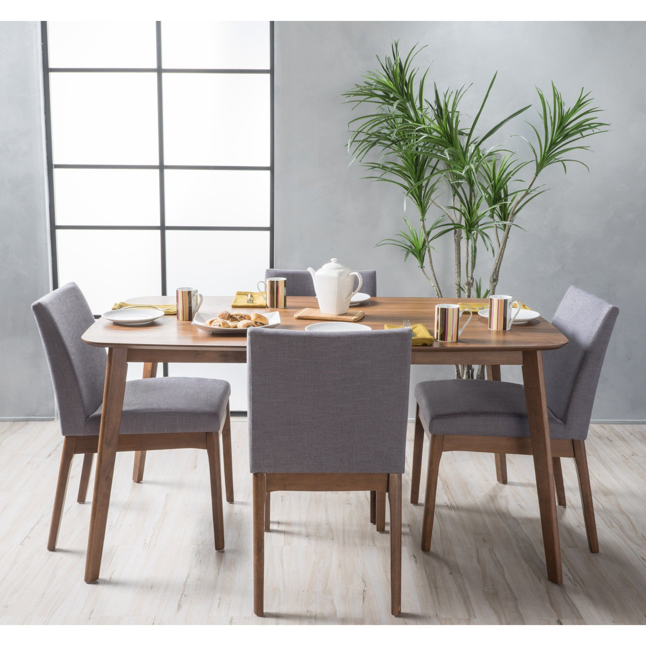 Inspiration about Trendy Tavarez 5 Piece Dining Sets Regarding Carson Carrington Kotka Mid Century 5 Piece Dining Set (Walnut (#9 of 20)