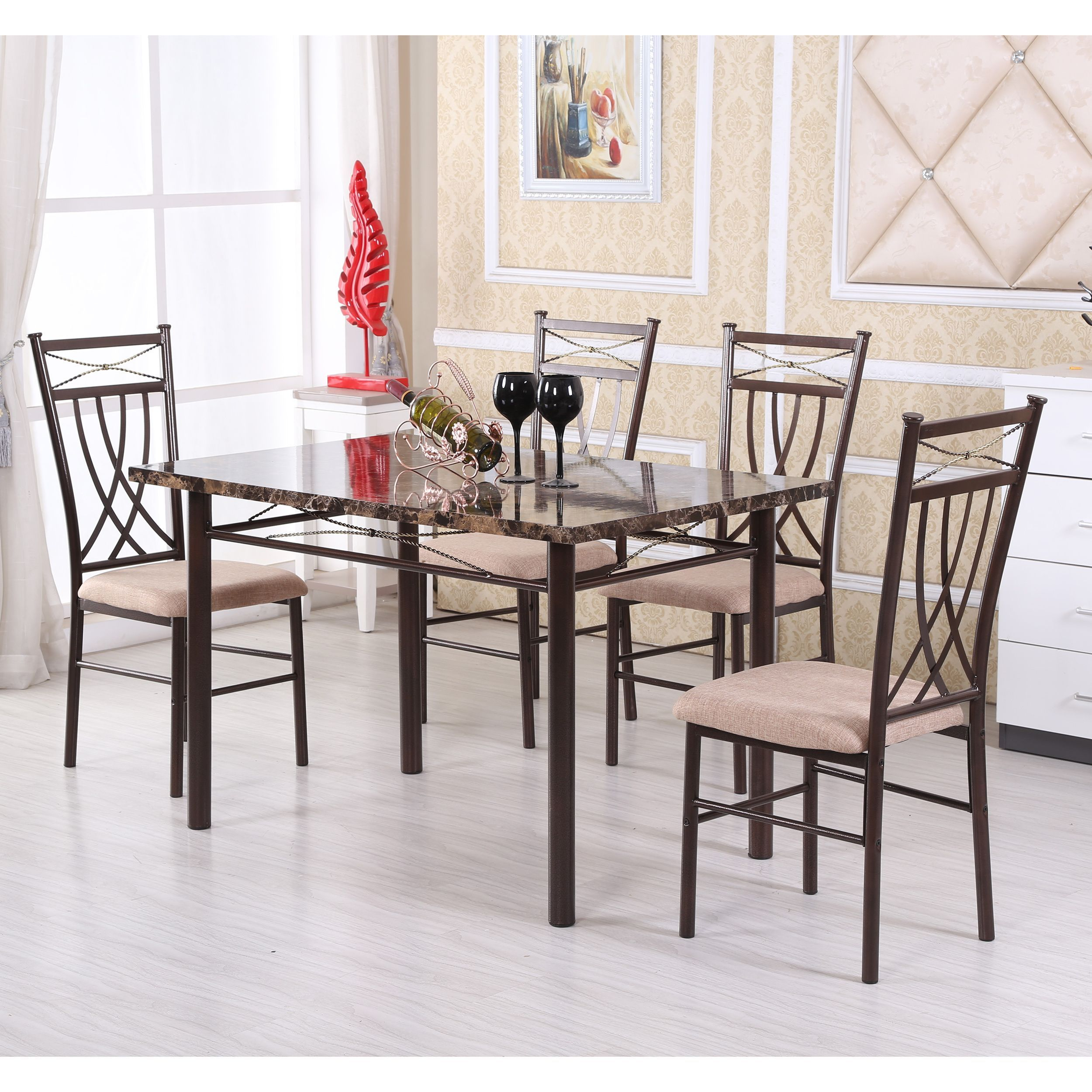 Update Your Dining Room With This Classic Five Piece Dining Set Pertaining To 2017 Kieffer 5 Piece Dining Sets (View 4 of 20)