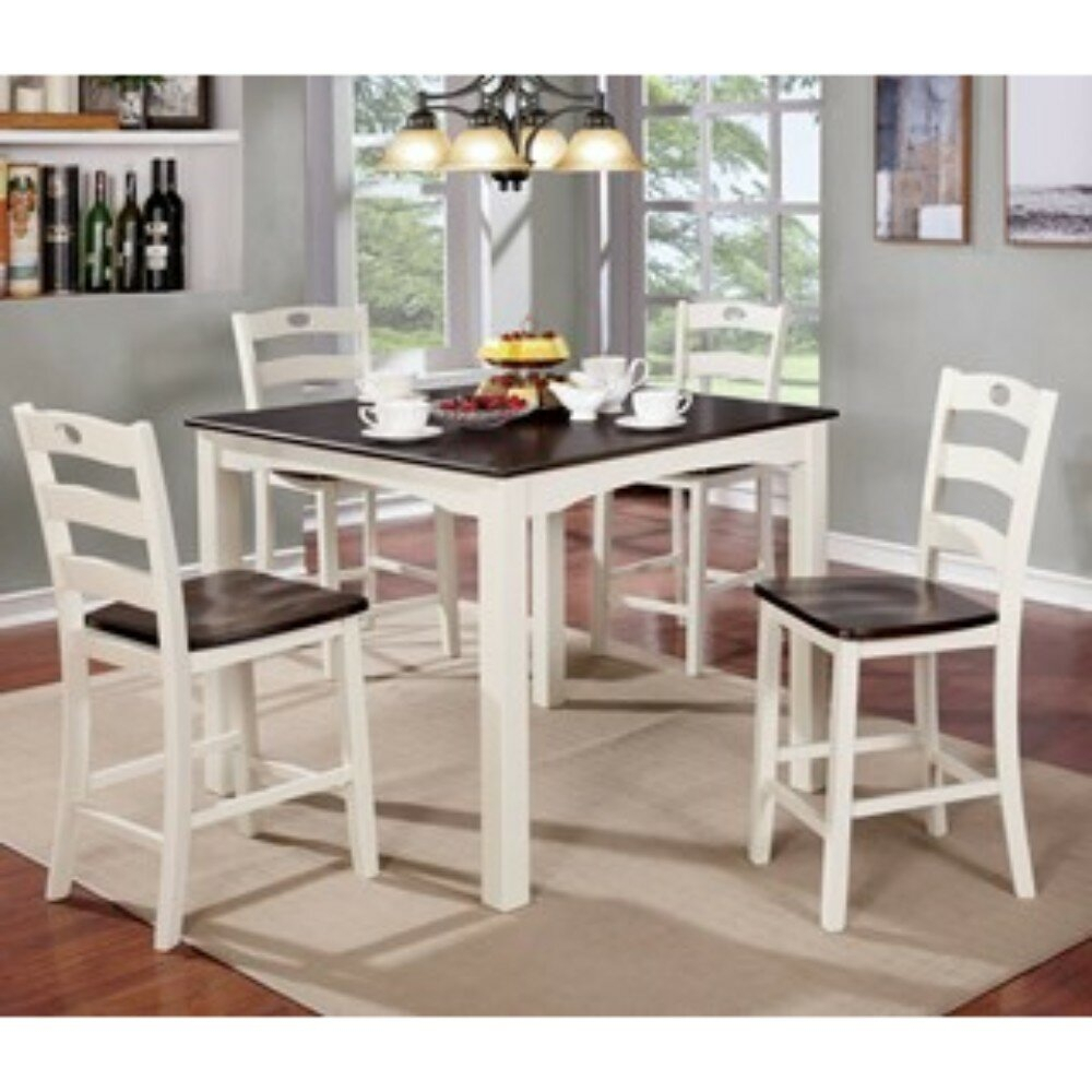 Valladares 3 Piece Pub Table Sets Inside Preferred August Grove Valladares 5 Piece Counter Height Solid Wood Dining Set (View 3 of 20)