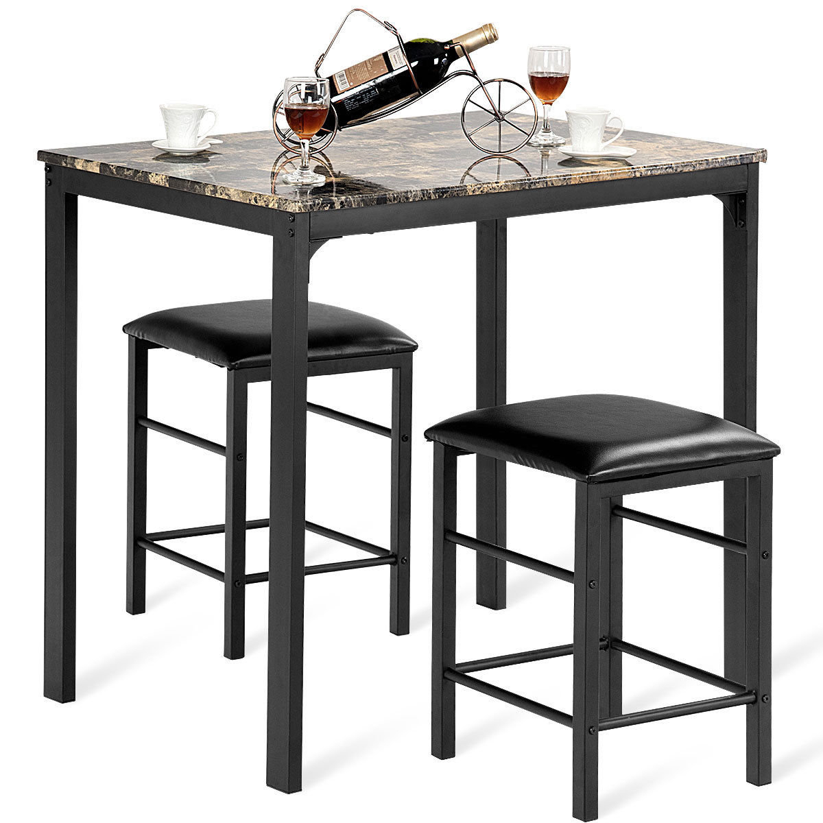 Popular Photo of Miskell 3 Piece Dining Sets