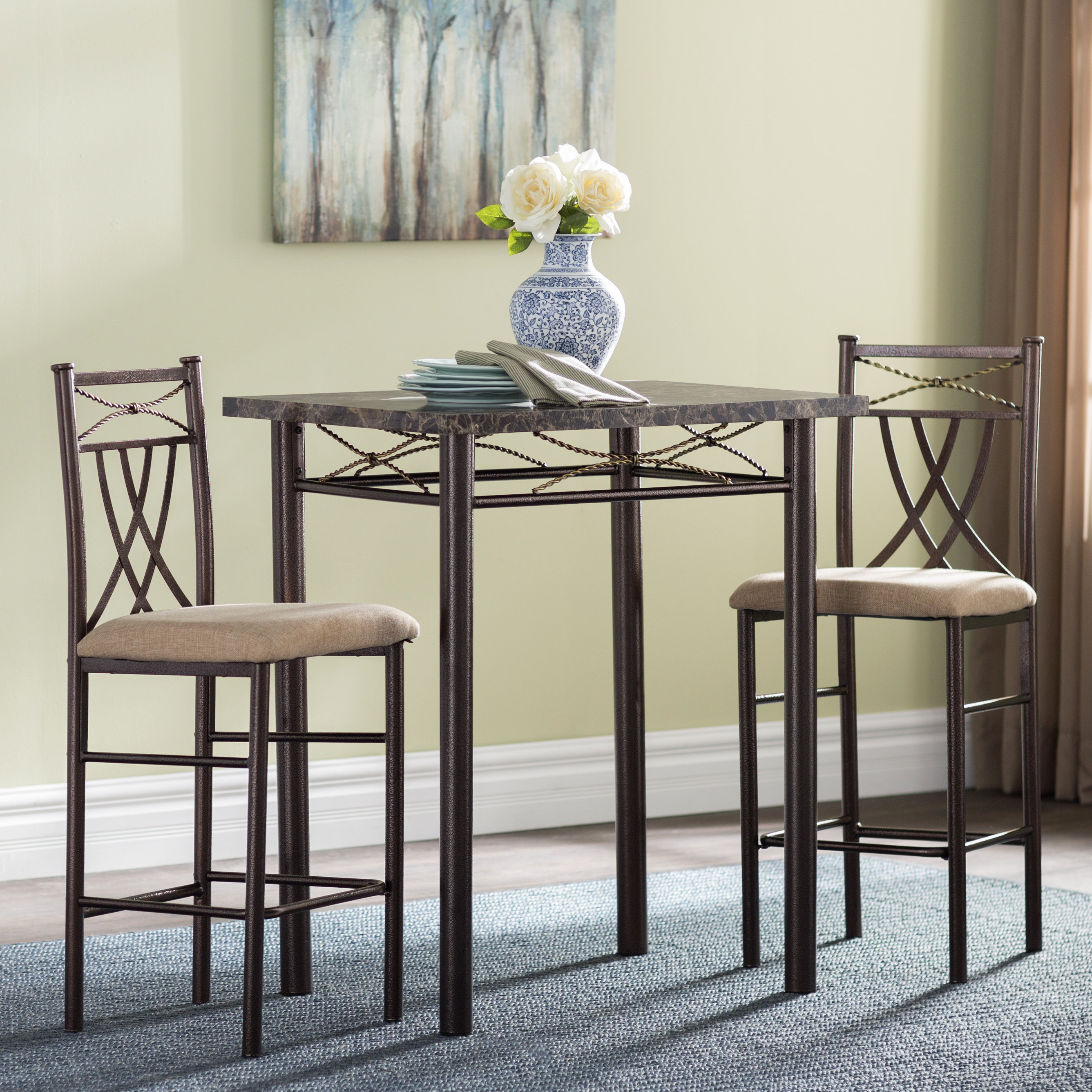 Popular Photo of Cincinnati 3 Piece Dining Sets