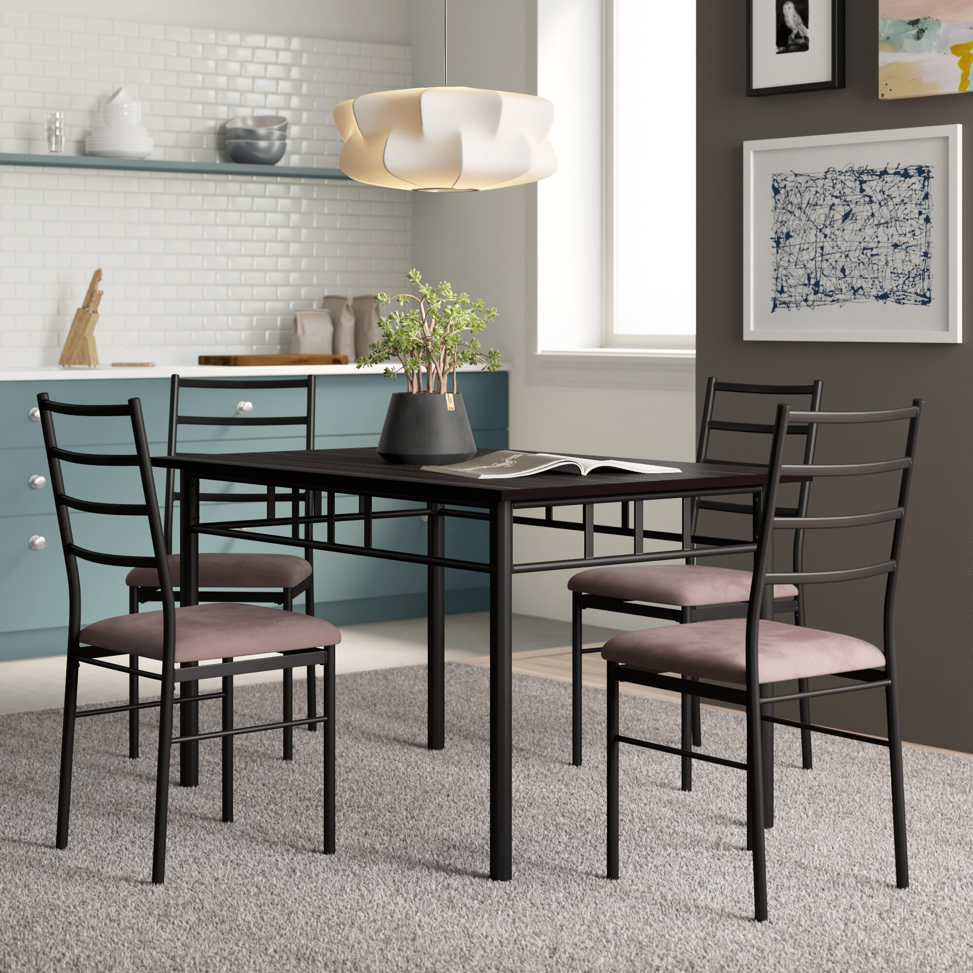 Inspiration about Wayfair For Evellen 5 Piece Solid Wood Dining Sets (Set Of 5) (#2 of 20)
