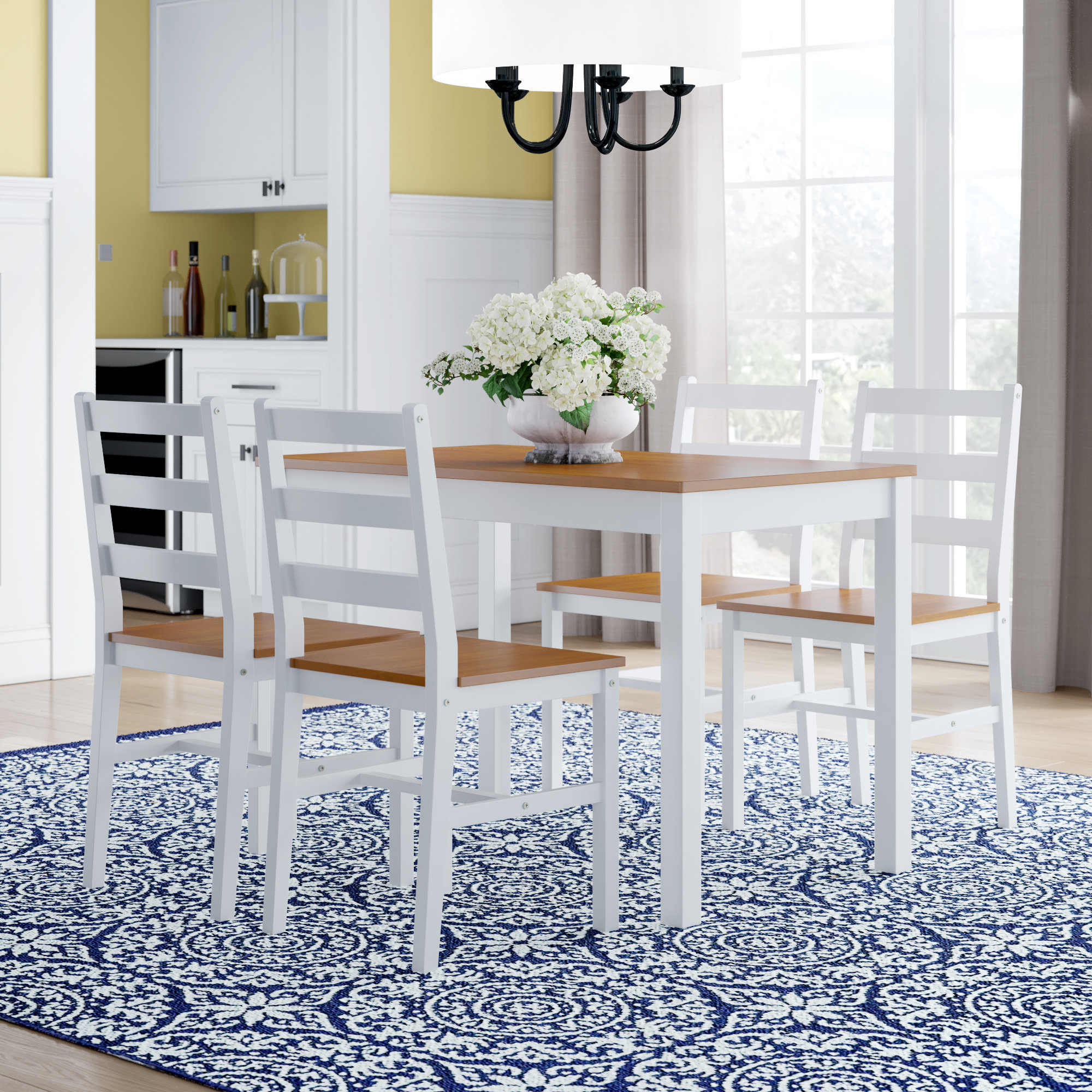 Inspiration about Wayfair In Yedinak 5 Piece Solid Wood Dining Sets (#1 of 20)