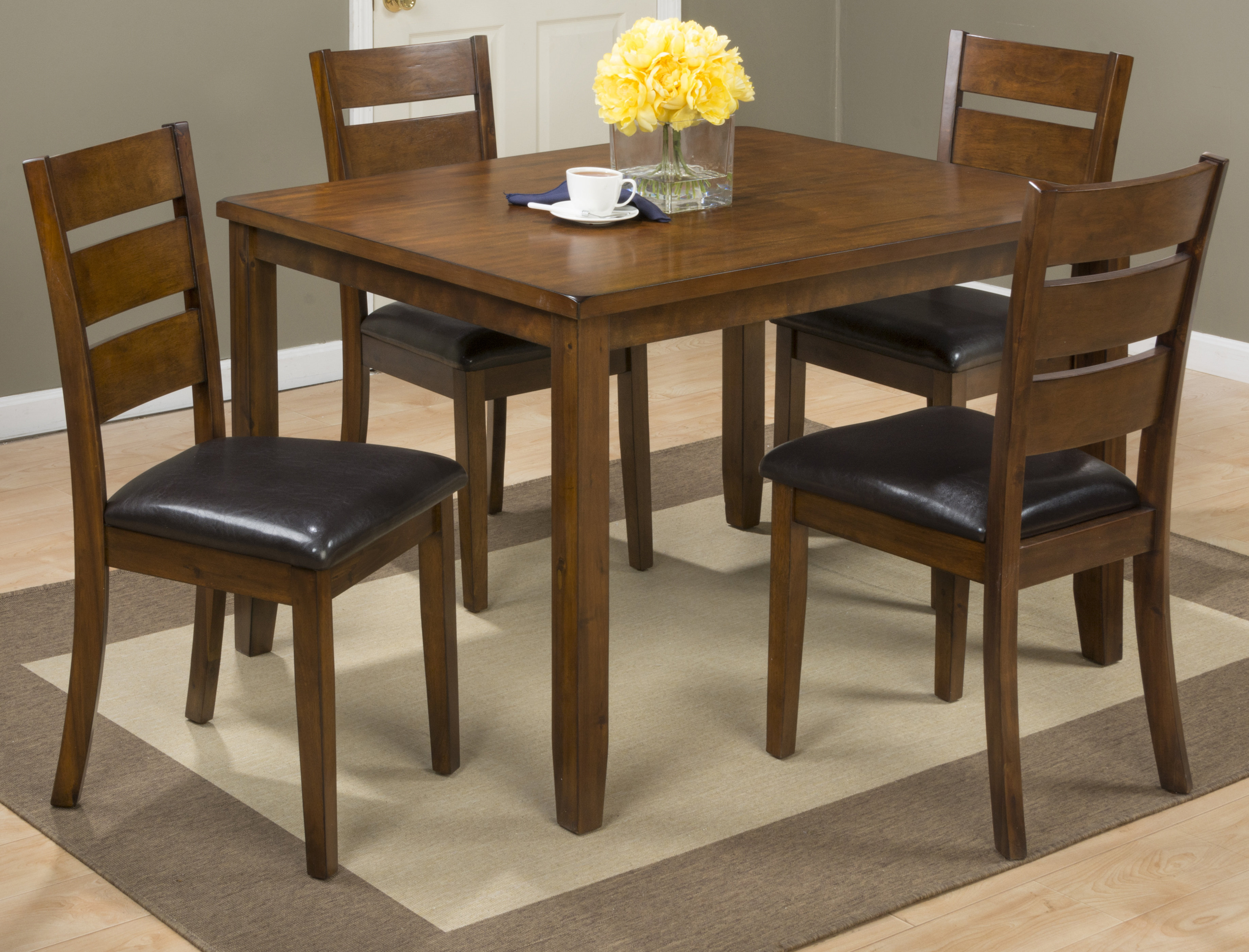 Popular Photo of Amir 5 Piece Solid Wood Dining Sets (Set Of 5)