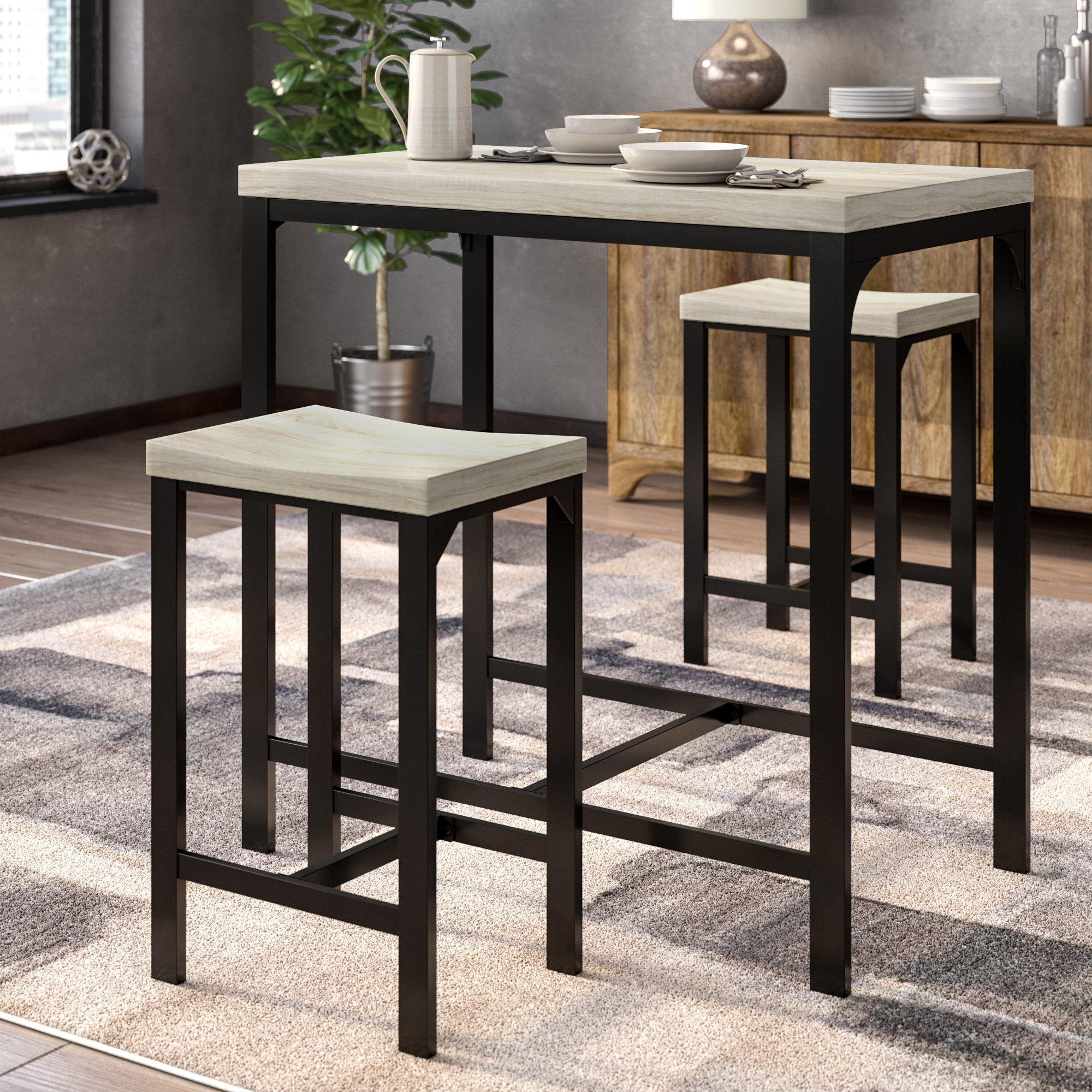 Inspiration about Wayfair Intended For Kernville 3 Piece Counter Height Dining Sets (#4 of 20)
