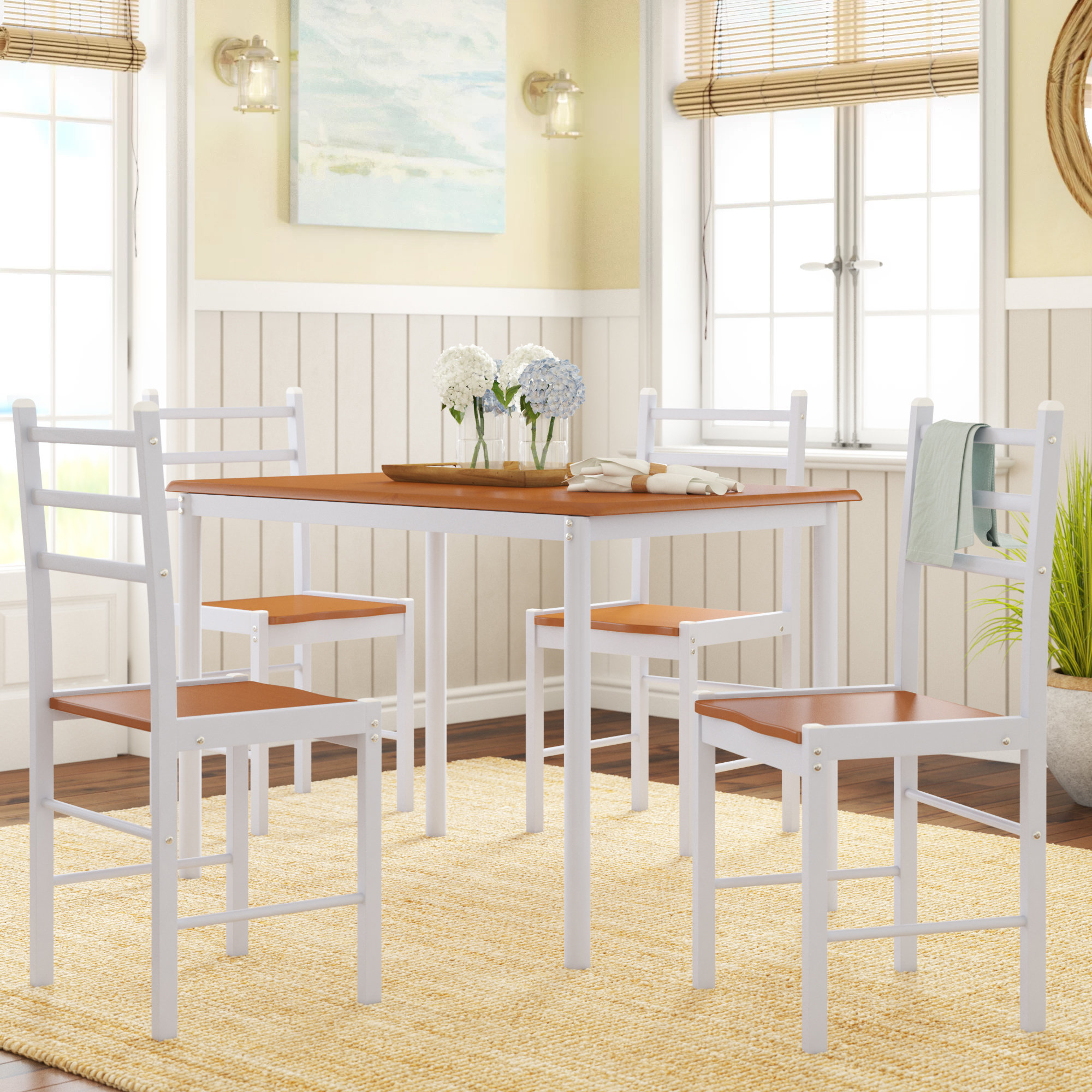 Inspiration about Wayfair Intended For Latest Yedinak 5 Piece Solid Wood Dining Sets (#13 of 20)