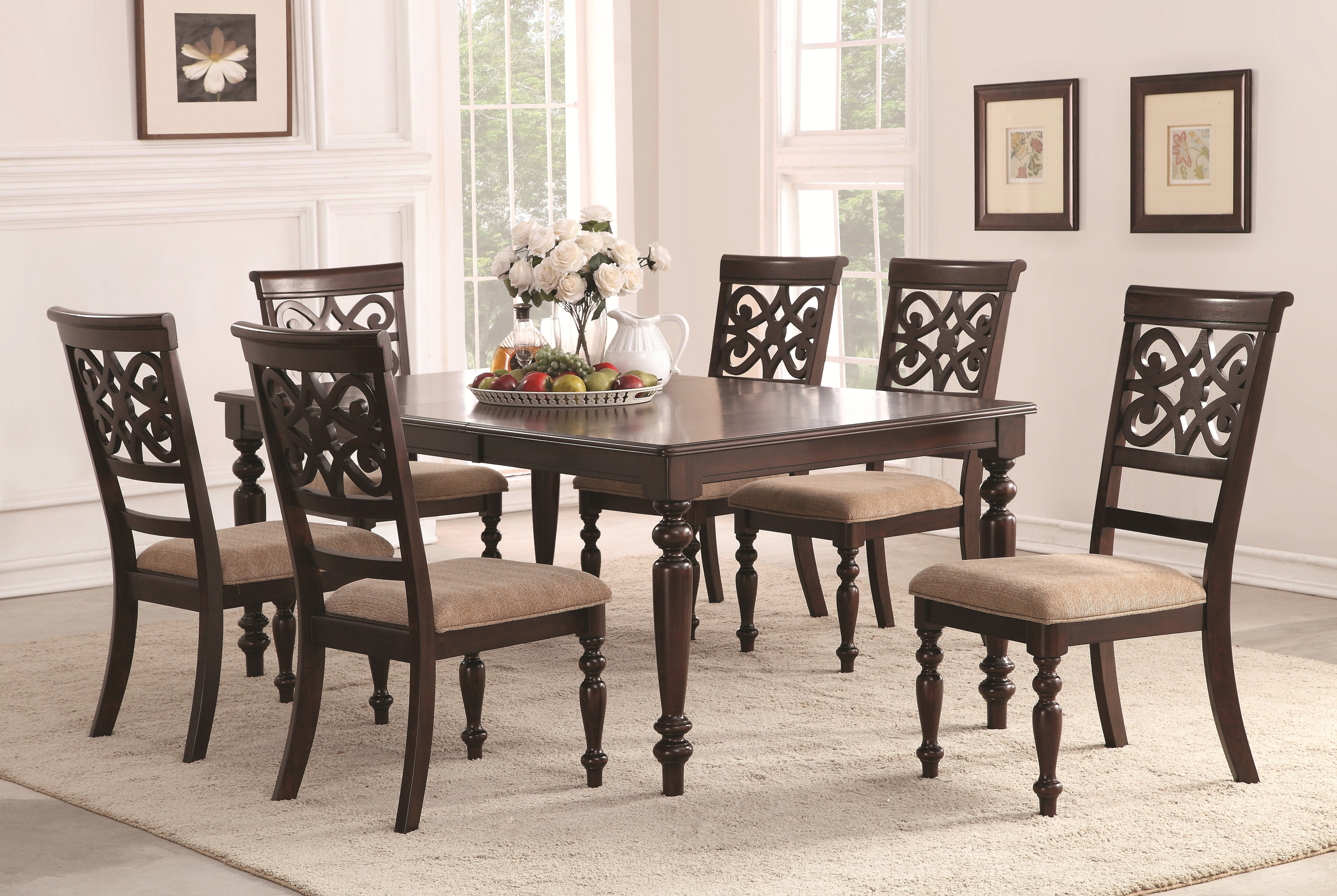 Popular Photo of Laconia 7 Pieces Solid Wood Dining Sets (Set Of 7)