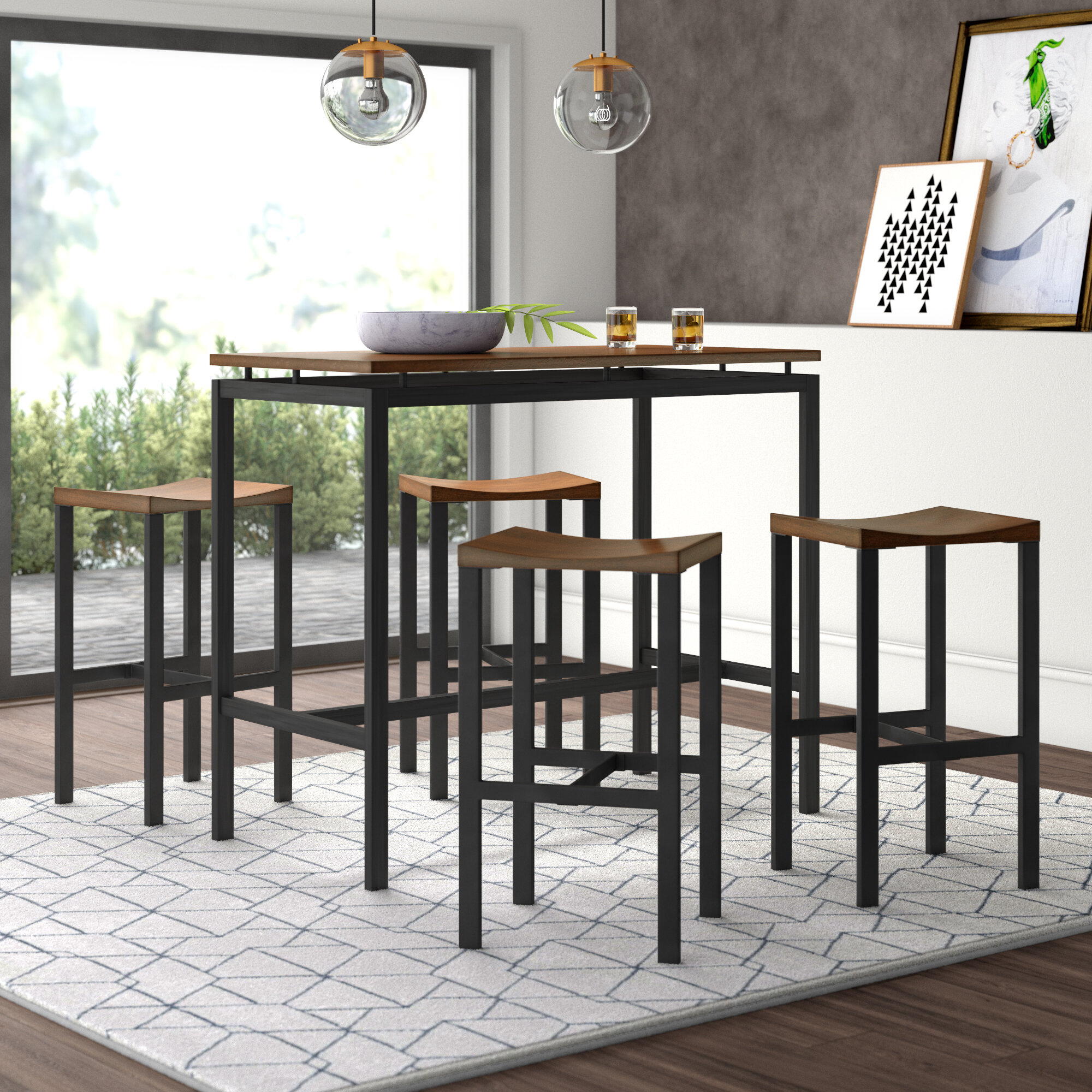 Inspiration about Weatherholt Dining Tables Inside Current Mercury Row Mcgonigal 5 Piece Pub Table Set & Reviews (#13 of 20)