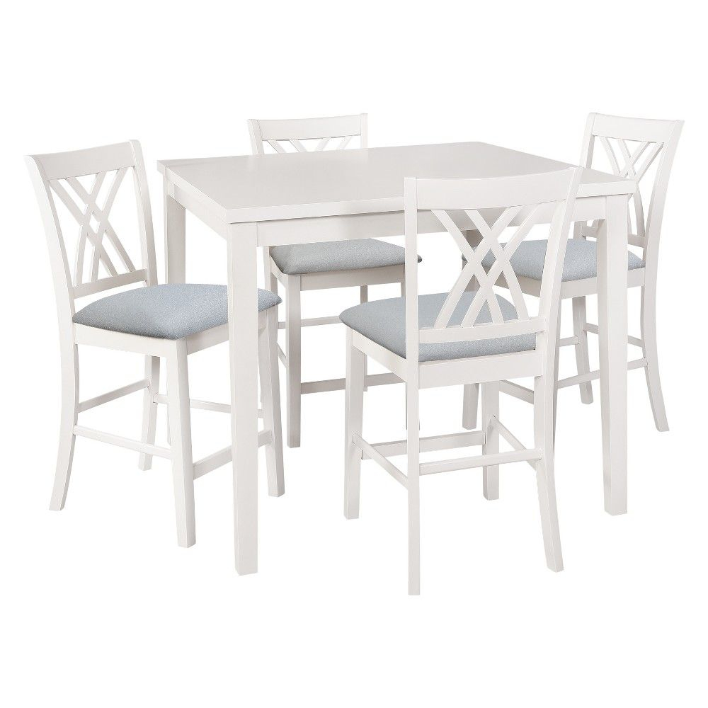 Well Known 5Pc Powell Company Roslyn Counter Dining Set White – Powell Company Intended For Denzel 5 Piece Counter Height Breakfast Nook Dining Sets (#16 of 20)