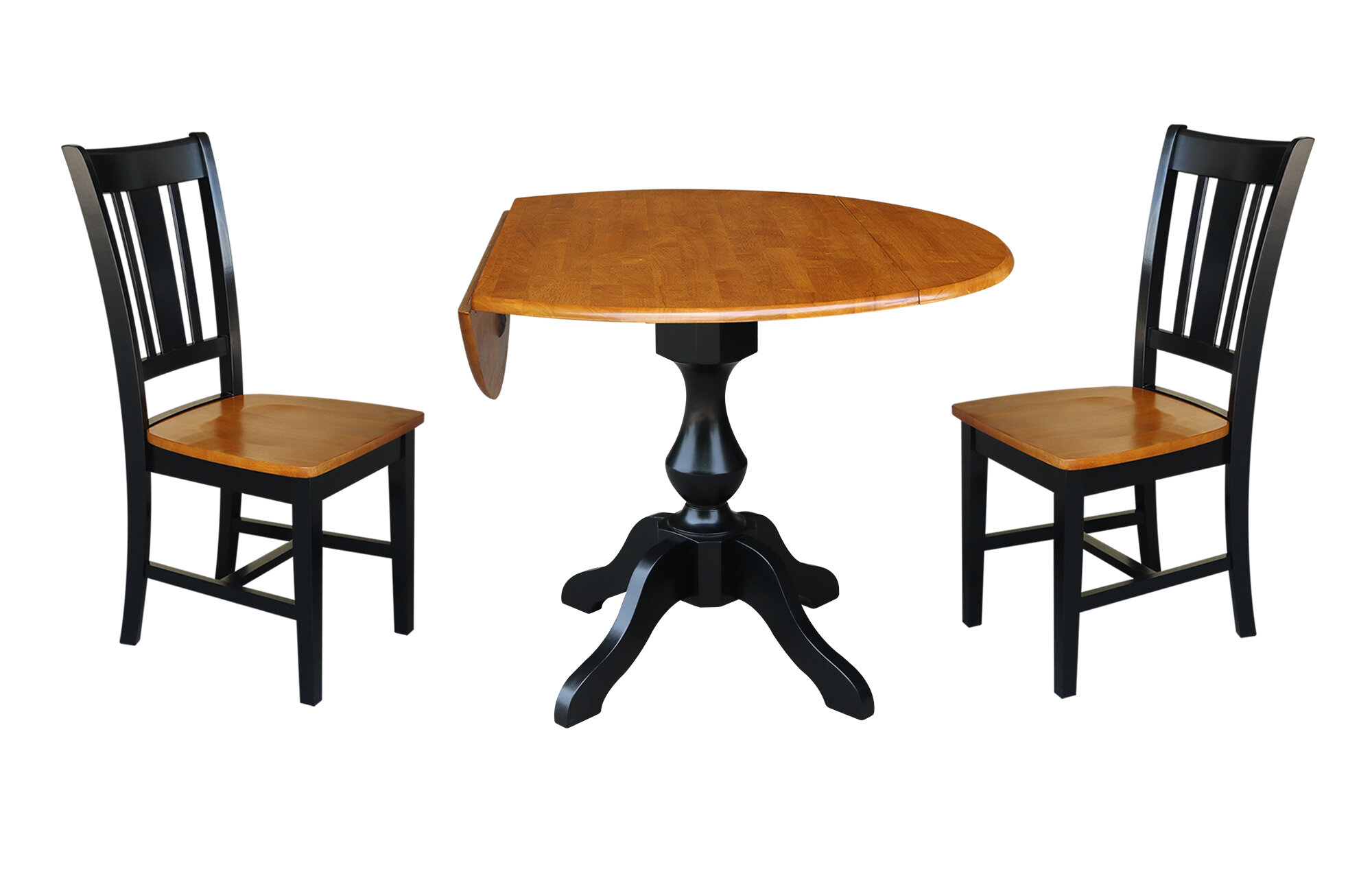 Well Known Alcott Hill Augu Round Top Pedestal Extending 3 Piece Drop Leaf In Cincinnati 3 Piece Dining Sets (View 10 of 20)