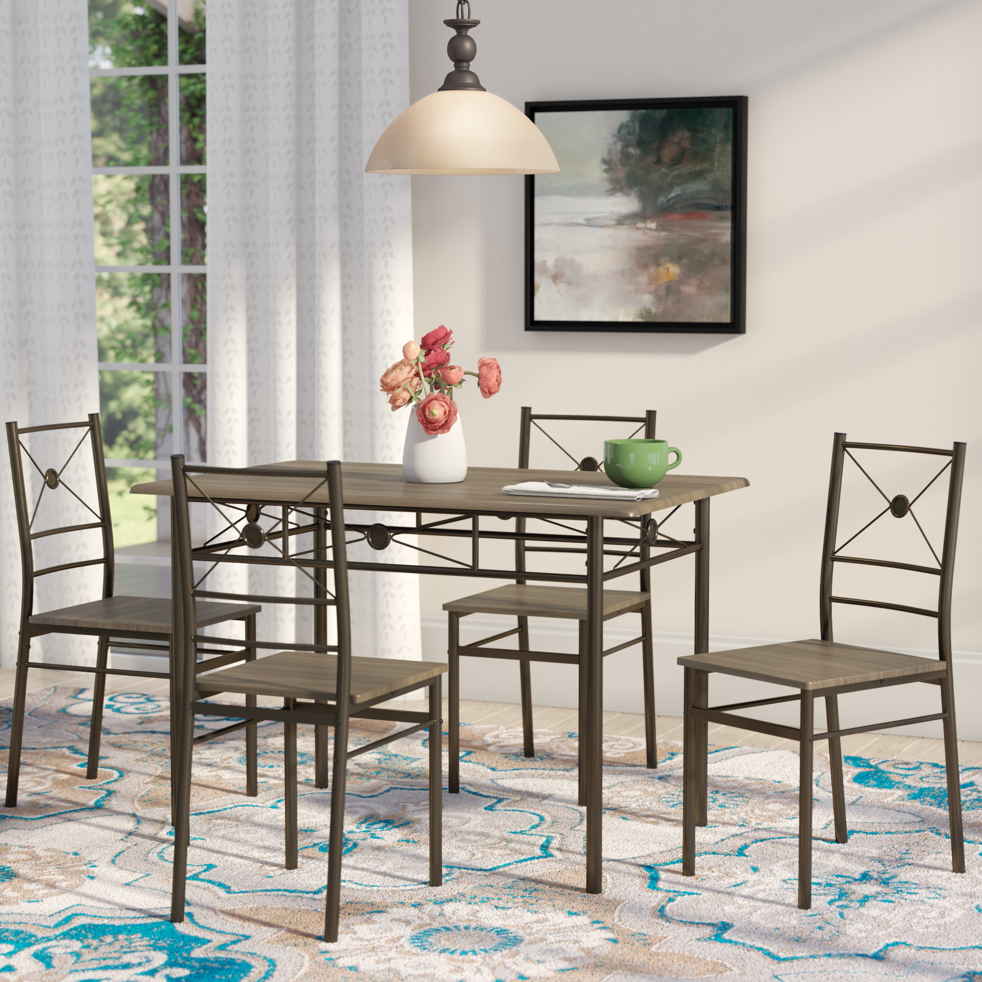 Well Known Andover Mills Kieffer 5 Piece Dining Set & Reviews (View 15 of 20)