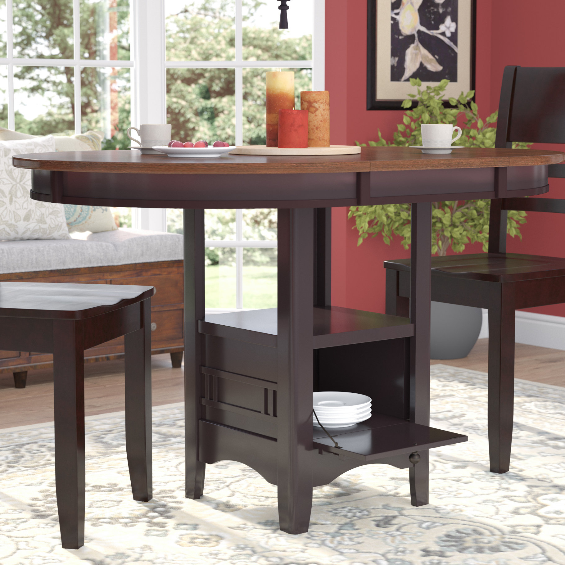 Well Known Anette 3 Piece Counter Height Dining Sets Within Darby Home Co Sinkler Counter Height Drop Leaf Dining Table (#19 of 20)