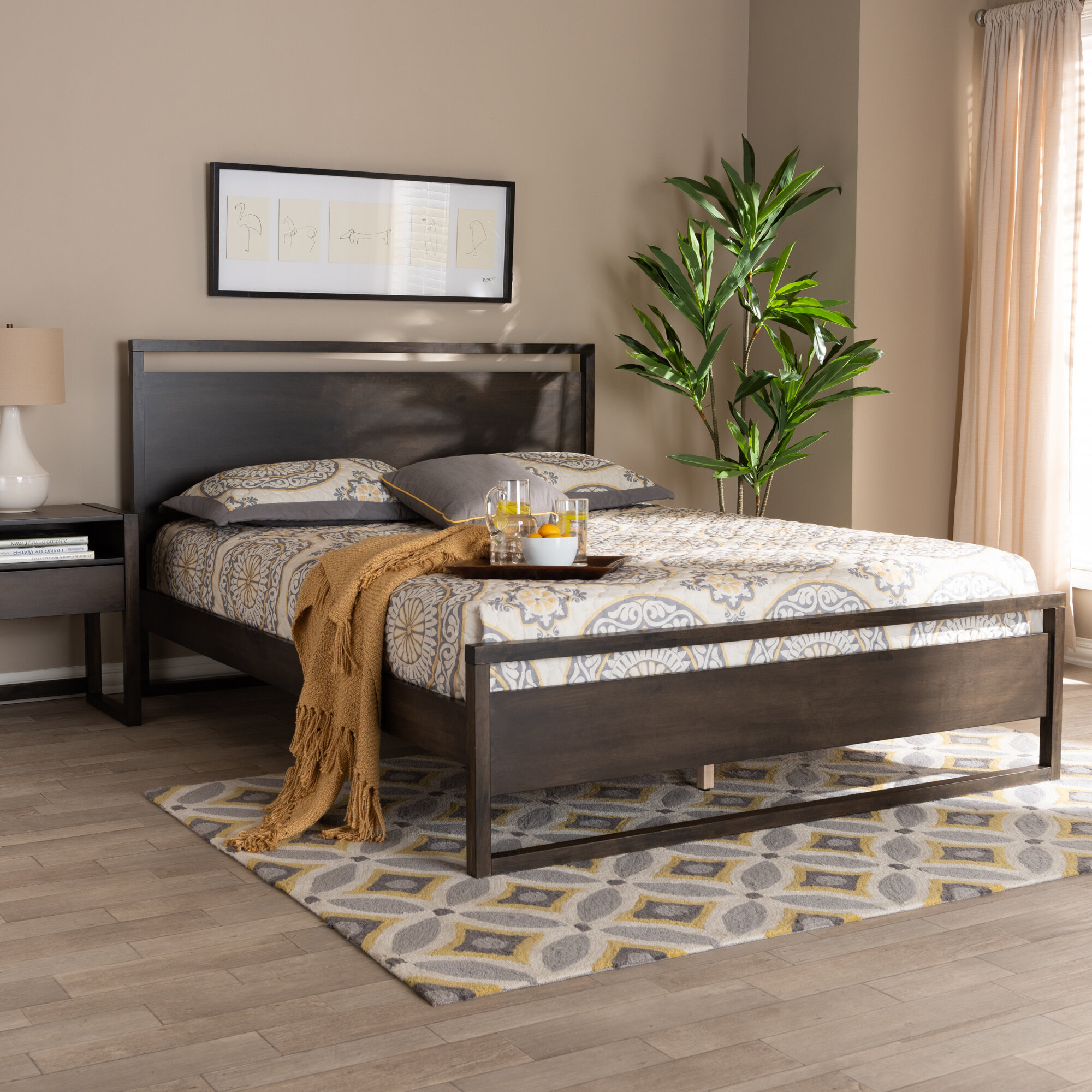 Well Known Ivy Bronx Dumais Modern And Contemporary Wood Queen Platform Bed Pertaining To Castellanos Modern 5 Piece Counter Height Dining Sets (View 20 of 20)
