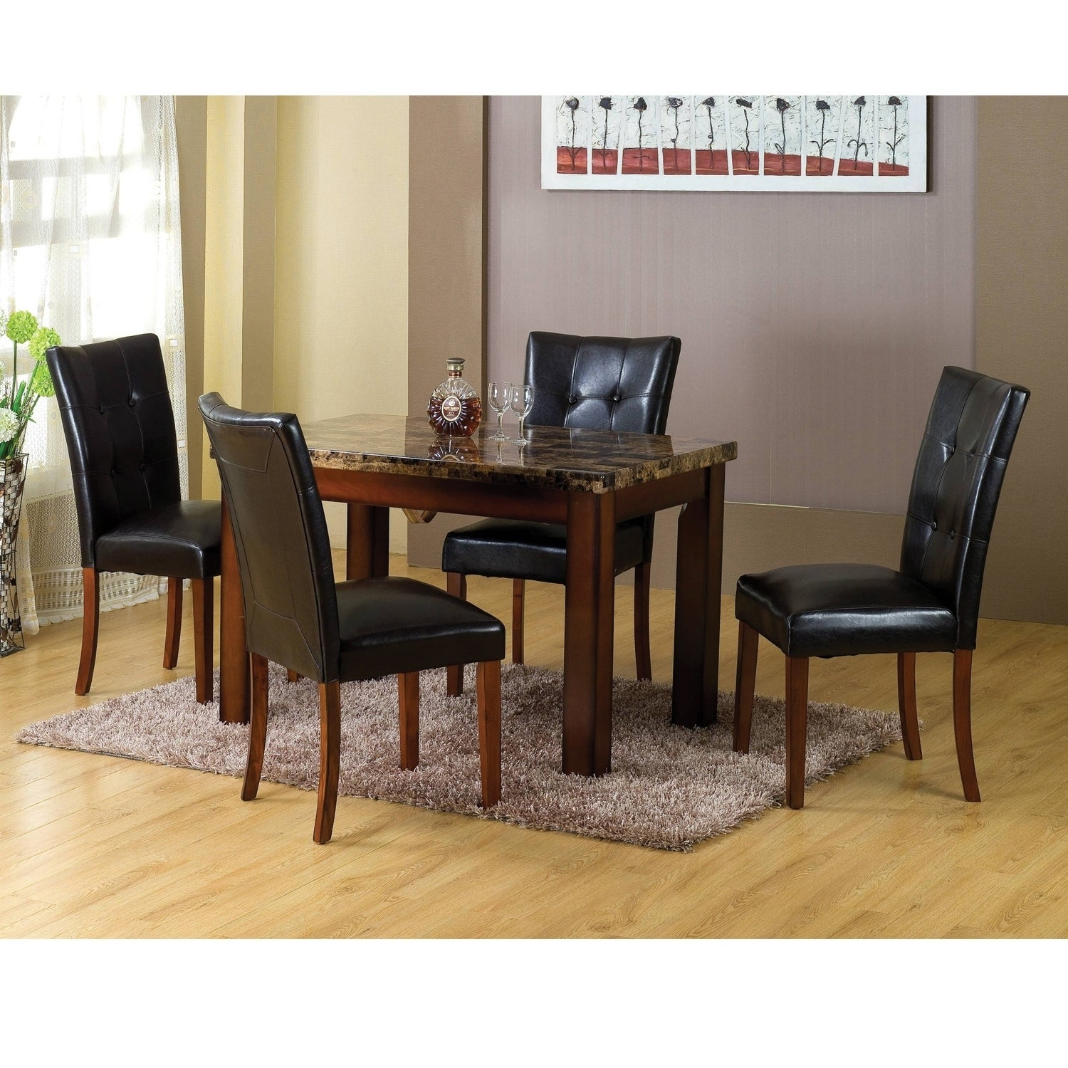 Well Known Laconia 7 Pieces Solid Wood Dining Sets (Set Of 7) Throughout Shop Home Source Aldama Tufted Black Dining Chairs (Set Of 2) – Free (#18 of 20)