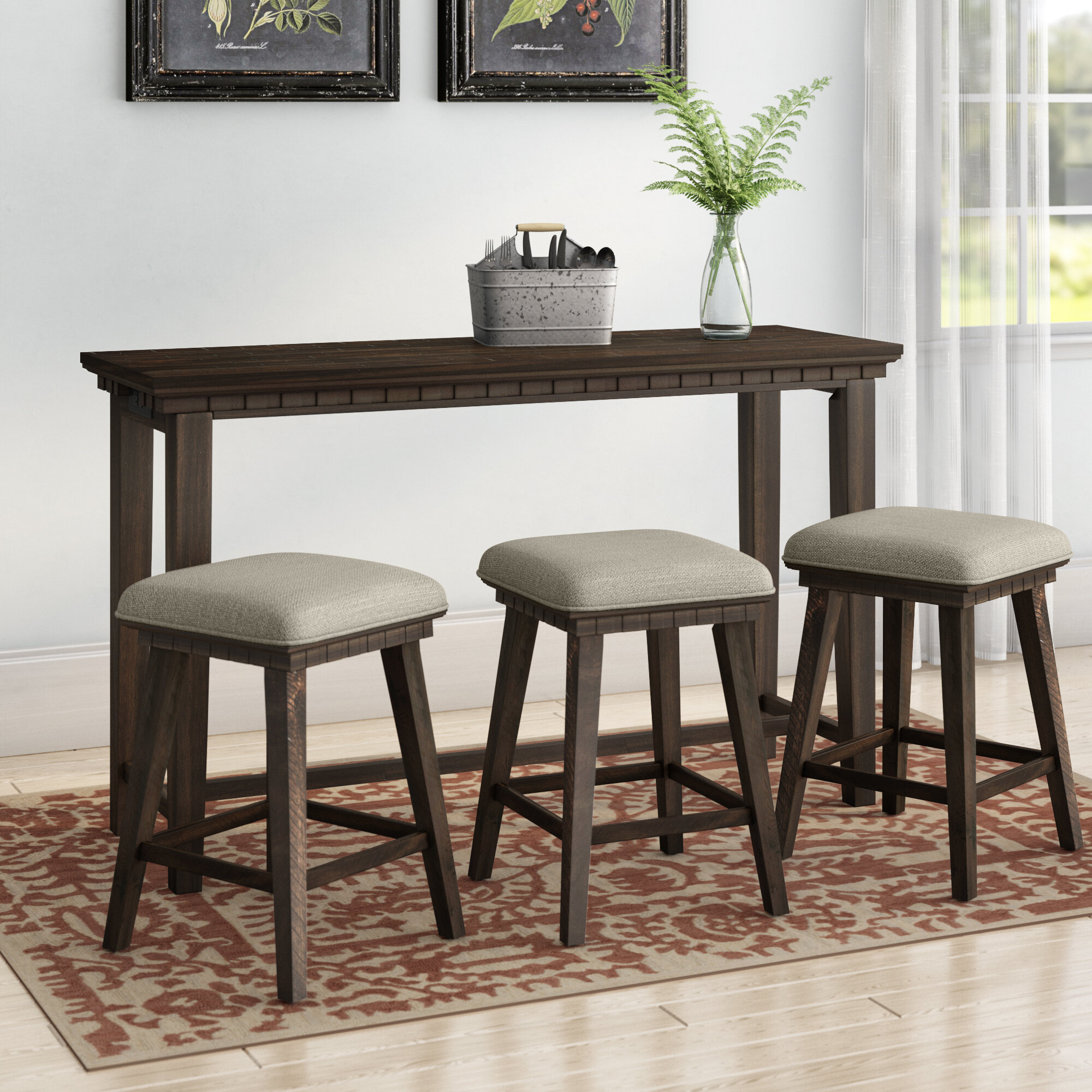 Well Known Laurel Foundry Modern Farmhouse Suzann Multi Purpose 4 Piece Pub Regarding Lillard 3 Piece Breakfast Nook Dining Sets (View 11 of 20)