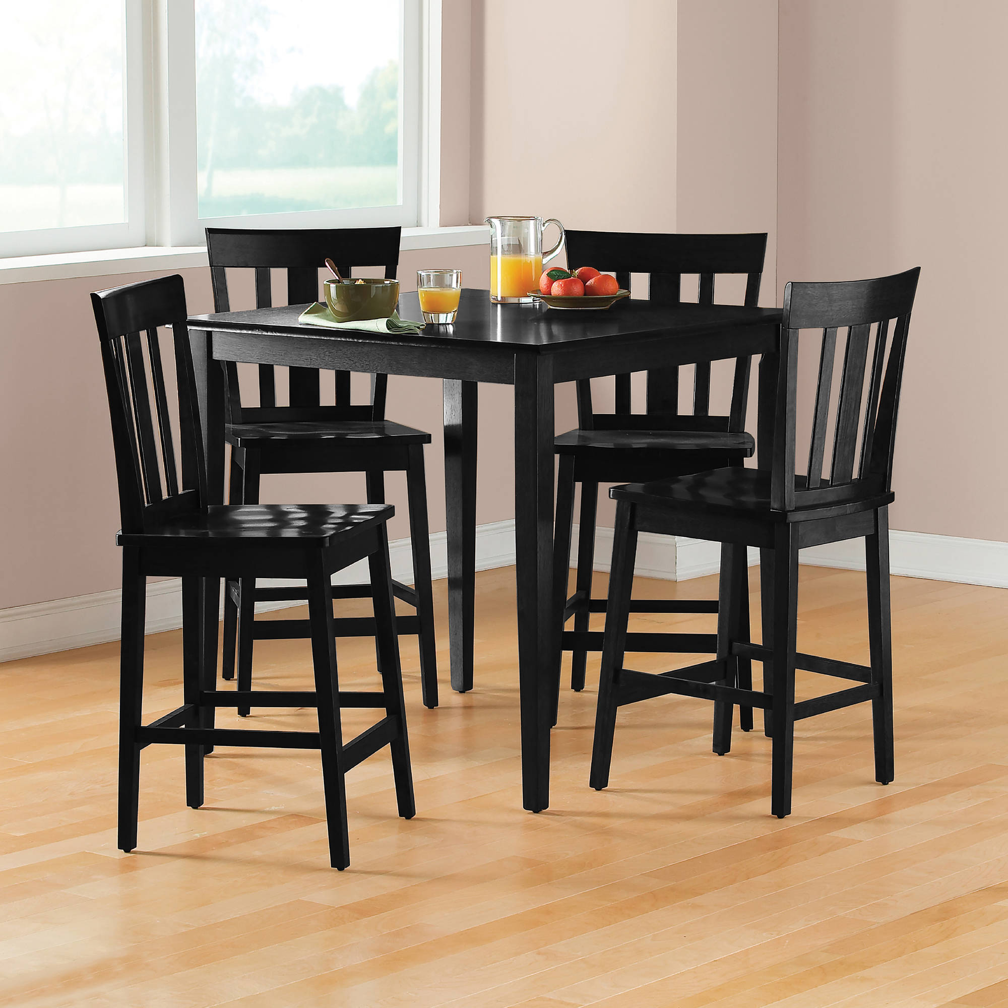 Inspiration about Well Known Mainstays 5 Piece Mission Counter Height Dining Set – Walmart With Goodman 5 Piece Solid Wood Dining Sets (set Of 5) (#8 of 20)