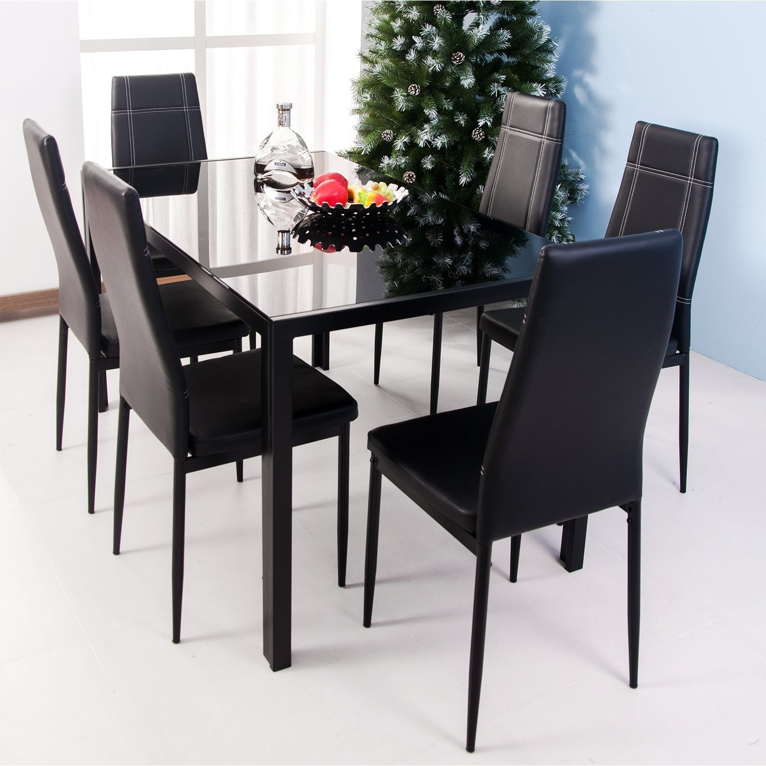 Well Known Maynard 5 Piece Dining Sets With Shop Merax 7 Piece Dining Set Glass Top Metal Table 6 Person Table (#20 of 20)