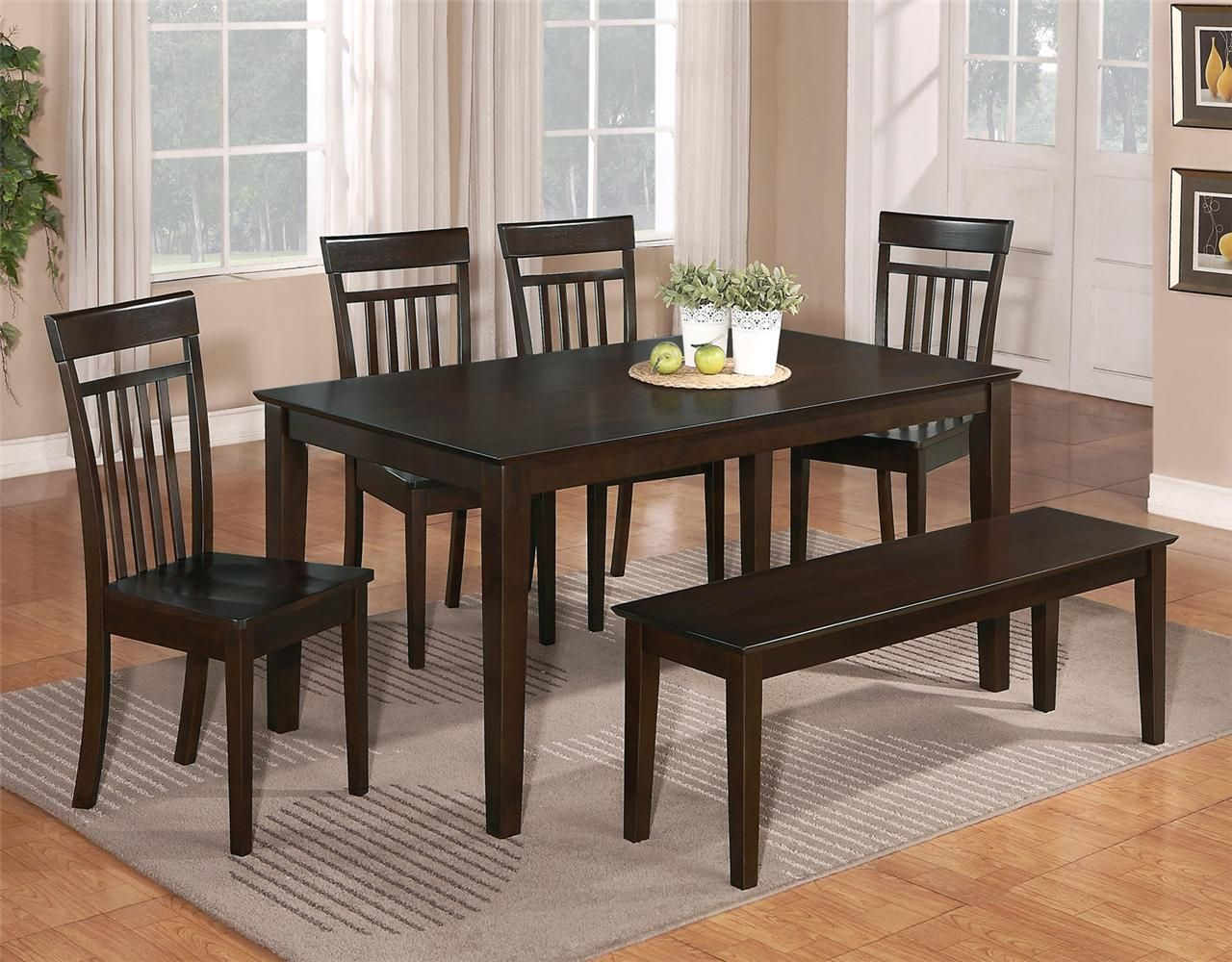 Inspiration about Well Known Smyrna 3 Piece Dining Sets Intended For 6 Pc Dinette Kitchen Dining Room Set Table W/4 Wood Chair And 1 (#7 of 20)