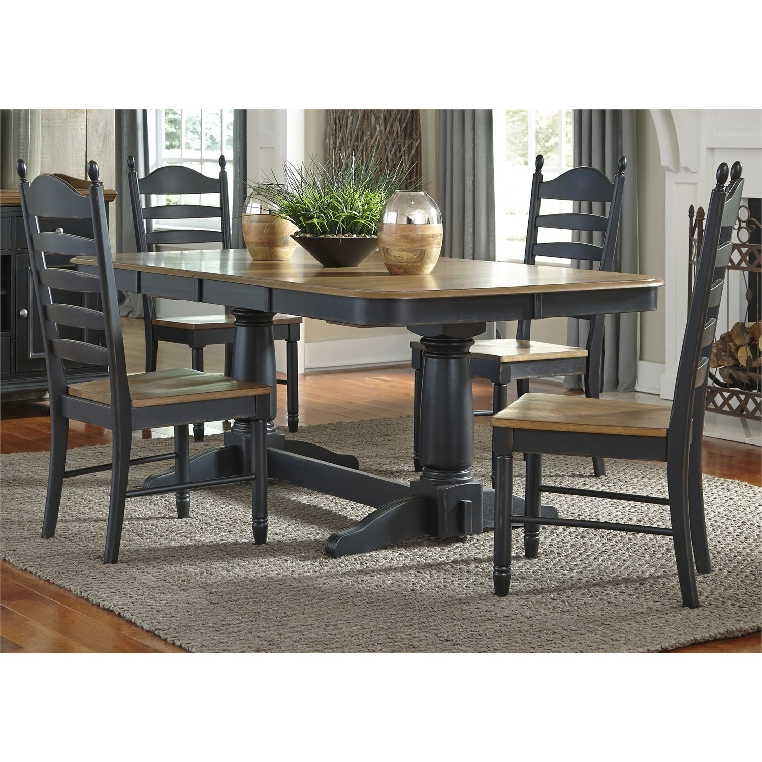 Well Known Springfield 3 Piece Dining Sets With Shop Liberty Honey And Black Double Pedestal 7 Piece Dinette Set (#18 of 20)