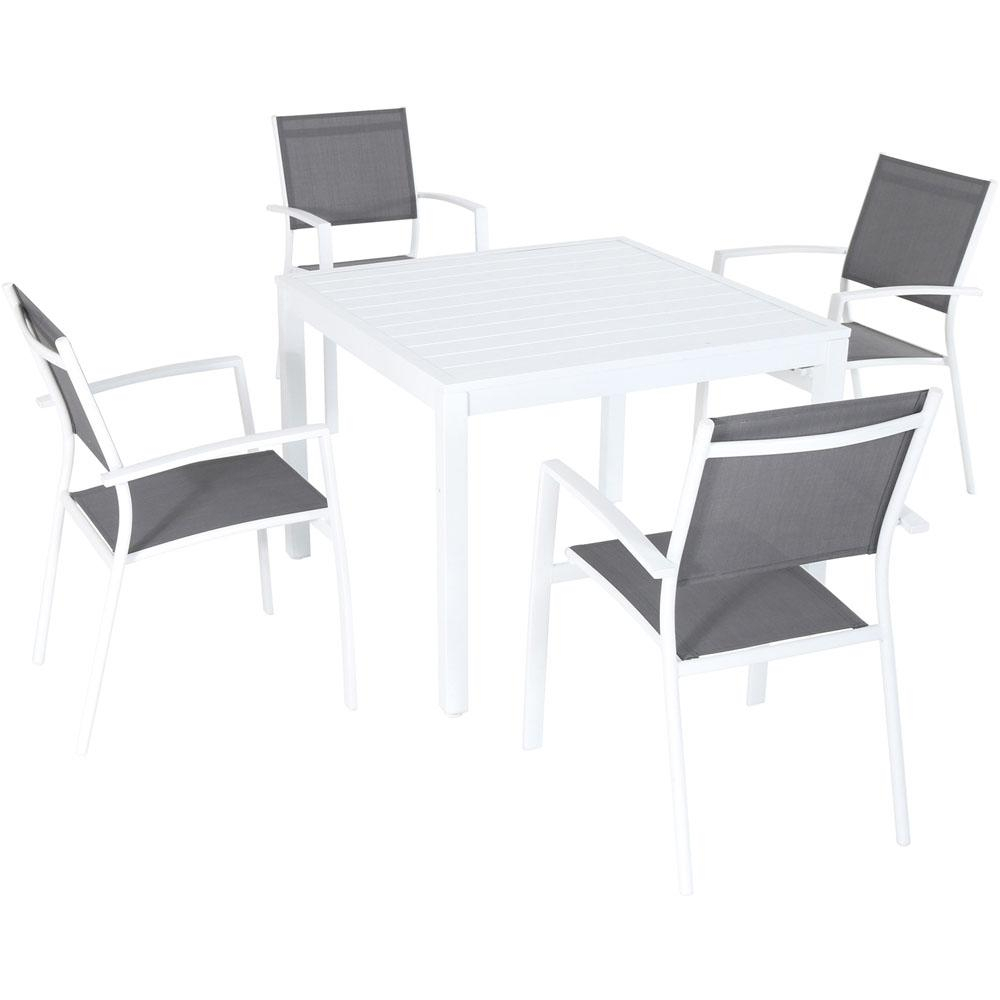 Well Liked Delmar 5 Piece Dining Sets Inside Hanover Del Mar 5 Piece Aluminum Outdoor Dining Set With 4 Sling Arm (View 5 of 20)
