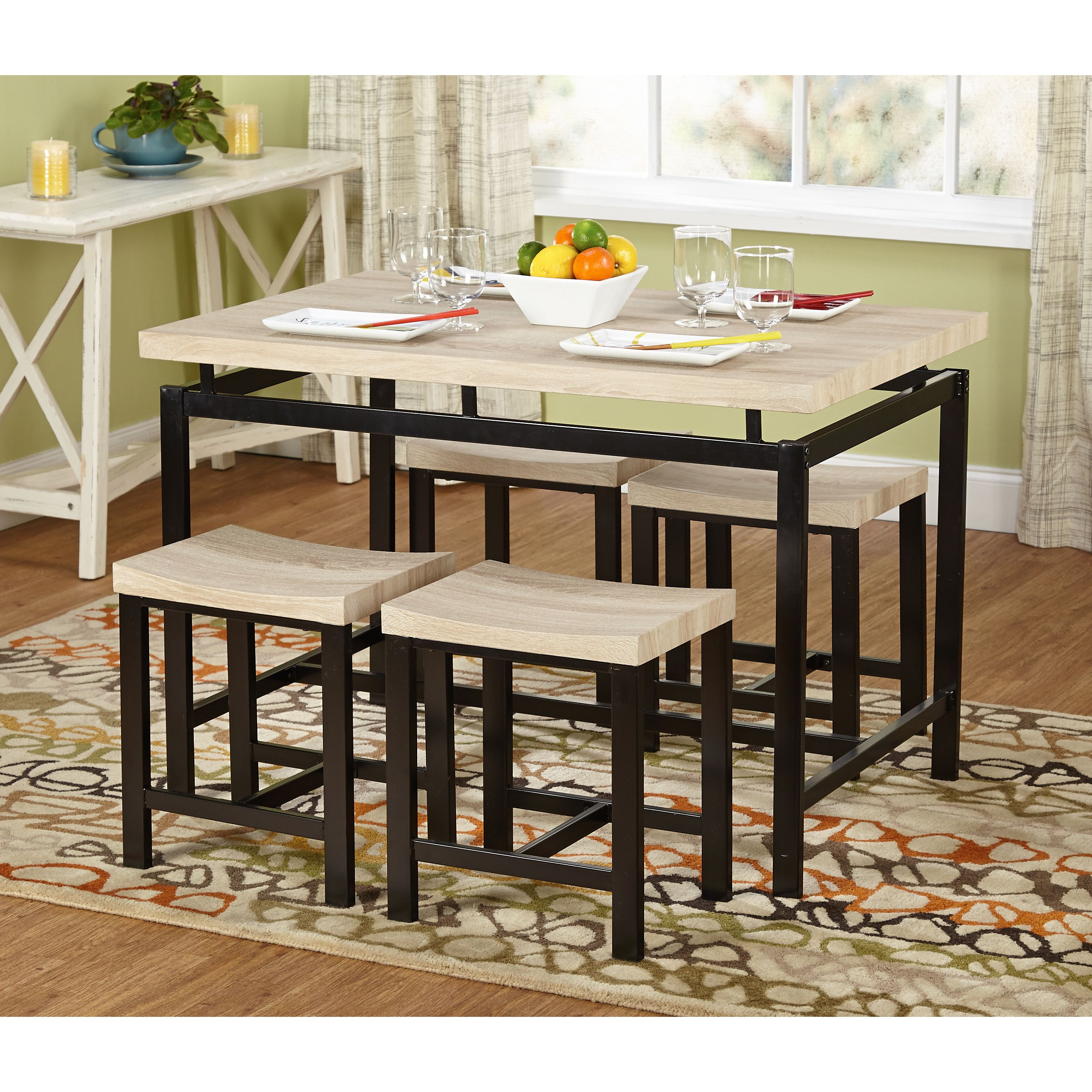 Well Liked Kinsler 3 Piece Bistro Sets In Simple Living Delano Two Tone 5 Piece Dining Set (5Pc Delano Set (#17 of 20)