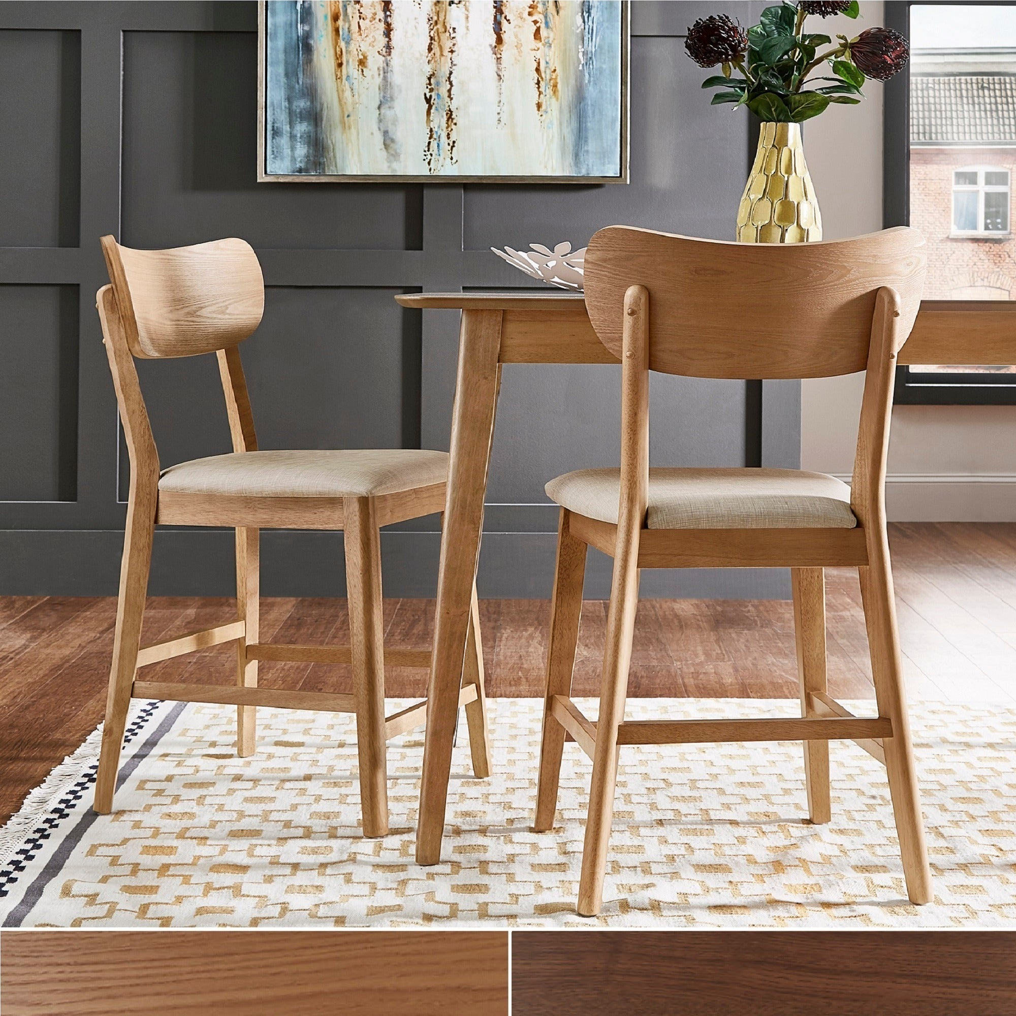 Well Liked Penelope 3 Piece Counter Height Wood Dining Sets In Shop Penelope Danish Modern Tapered Leg Counter Height Chair (Set Of (#19 of 20)