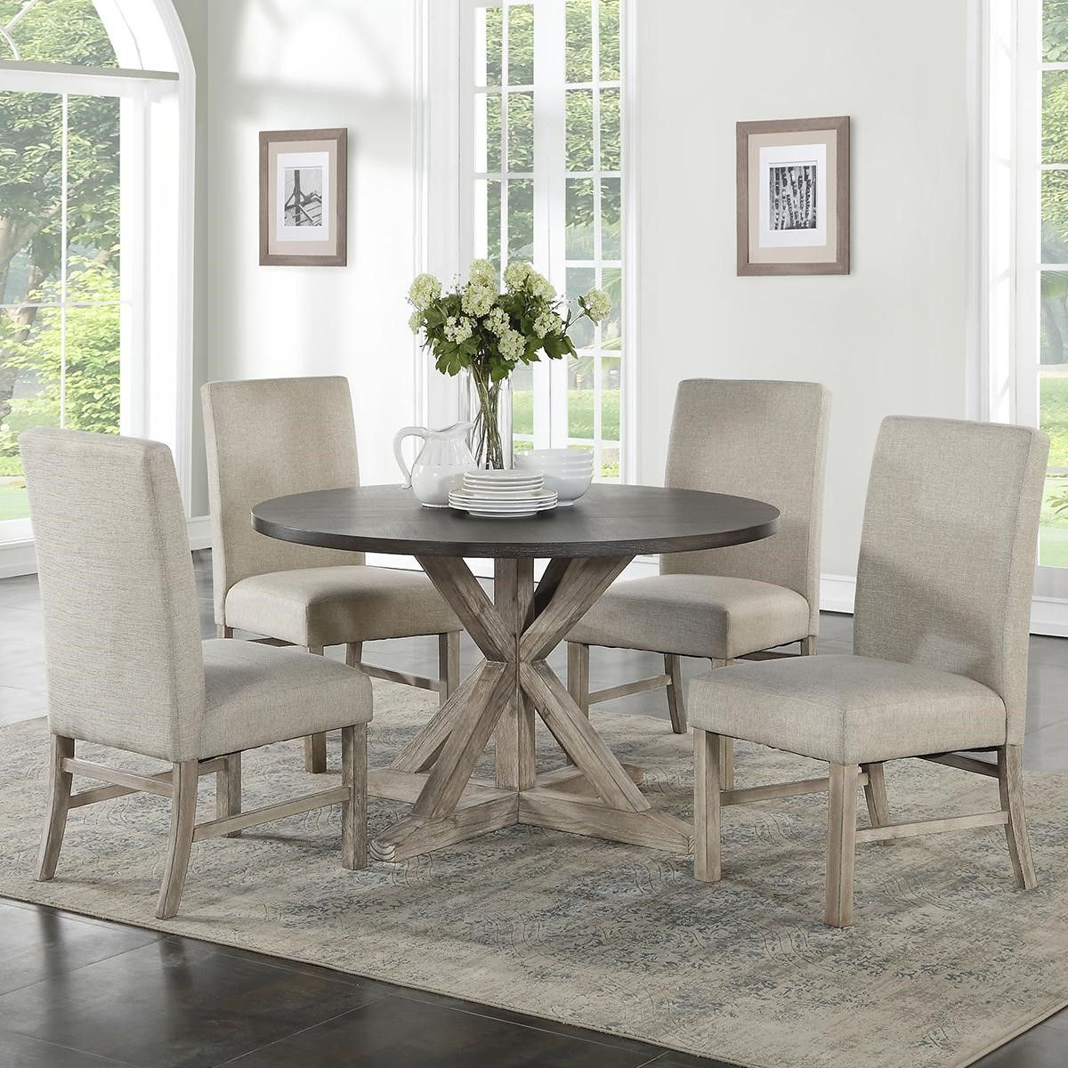 Inspiration about Well Liked Travon 5 Piece Dining Sets Throughout Langley Furniture Jefferson 5 Piece Dining Set In Reclaimed Pine And (#6 of 20)
