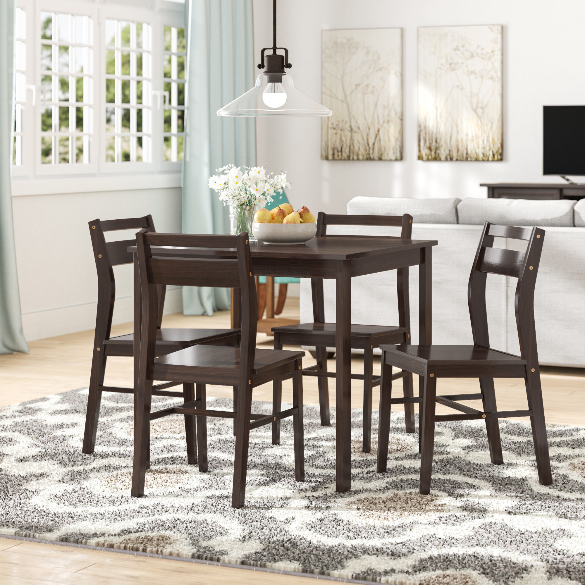 Inspiration about Well Liked Winston Porter Hersom 5 Piece Dining Set (#6 of 20)
