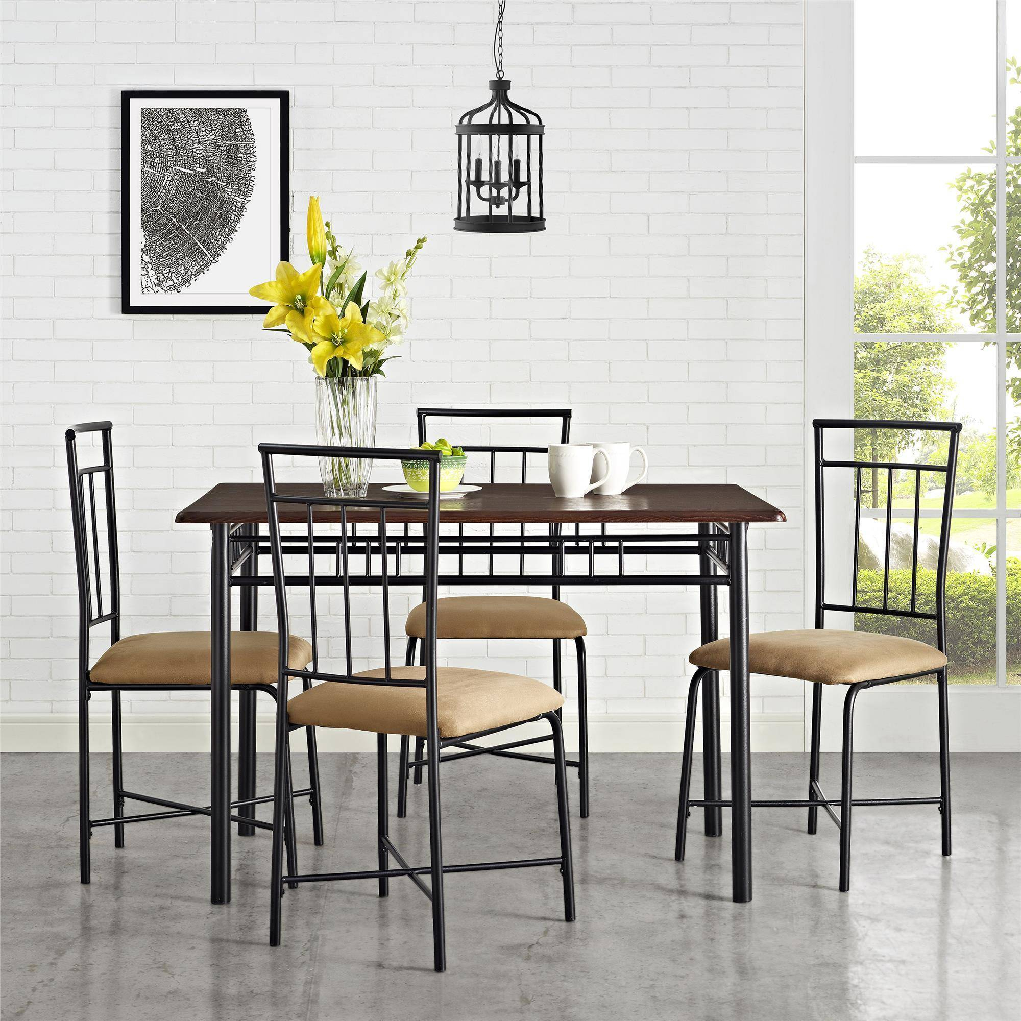 West Hill Family Table 3 Piece Dining Sets Pertaining To Most Current Mainstays 5 Piece Dining Set, Multiple Colors – Walmart (#16 of 20)