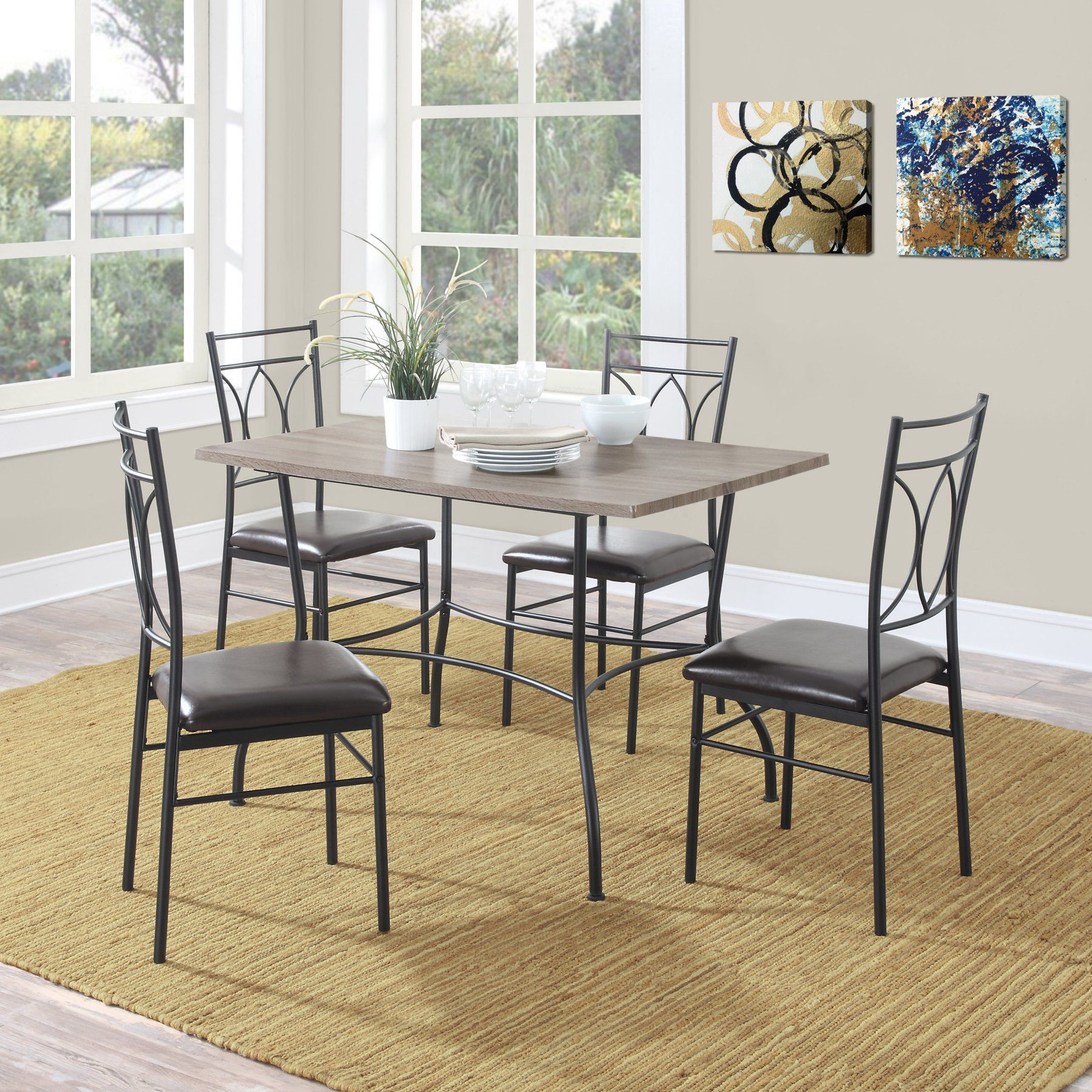Widely Used Dorel Living Shelby 5 Piece Rustic Wood & Metal Dining Set Regarding Wiggs 5 Piece Dining Sets (View 8 of 20)