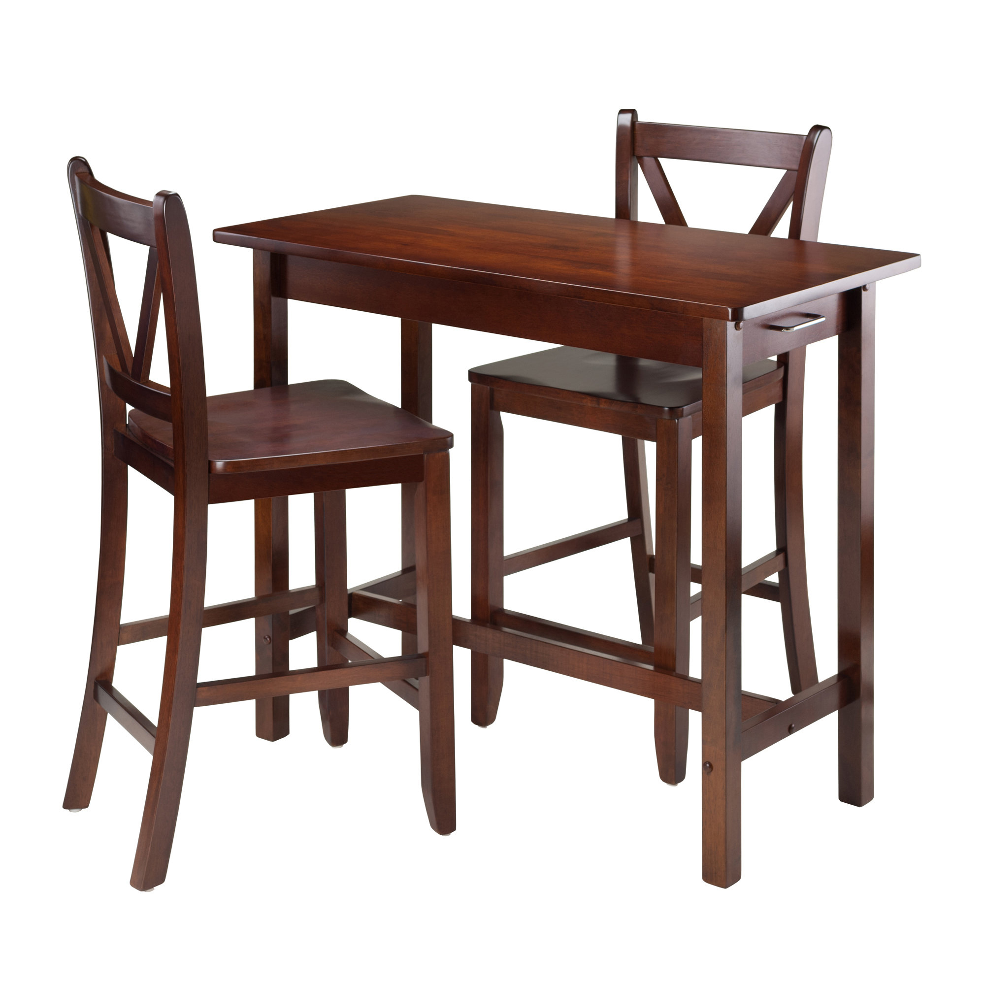 Winsome 3 Piece Counter Height Dining Sets With Regard To Popular Winsome Kitchen Island 3 Piece Counter Height Dining Set & Reviews (View 4 of 20)