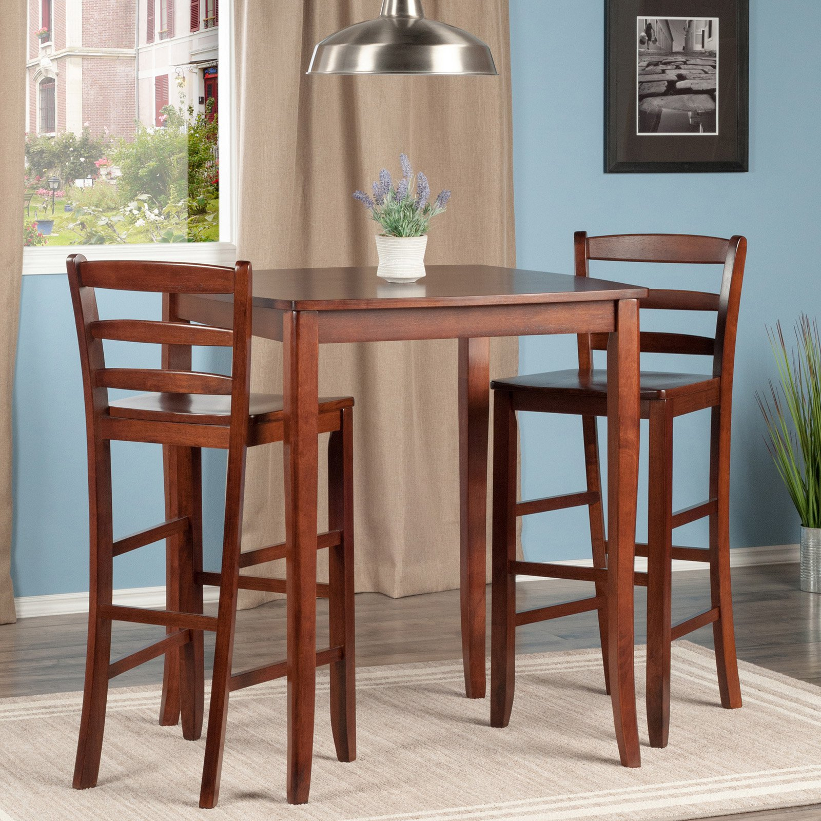 Inspiration about Winsome Inglewood 3 Piece Pub Table Set With Ladder Back Stools In Pertaining To 2017 Winsome 3 Piece Counter Height Dining Sets (#5 of 20)