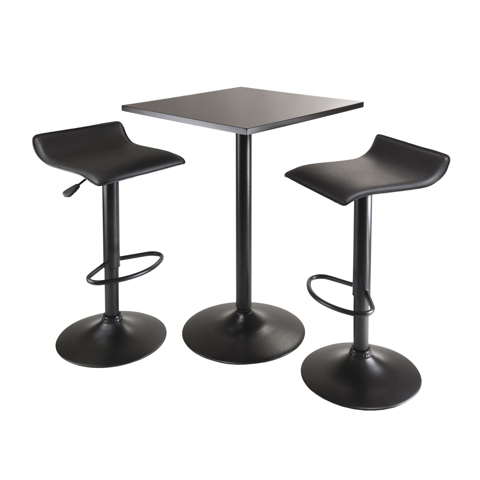 Inspiration about Winsome Wood Obsidian Black 3 Piece Square Table Counter Height Throughout Most Popular Winsome 3 Piece Counter Height Dining Sets (#14 of 20)