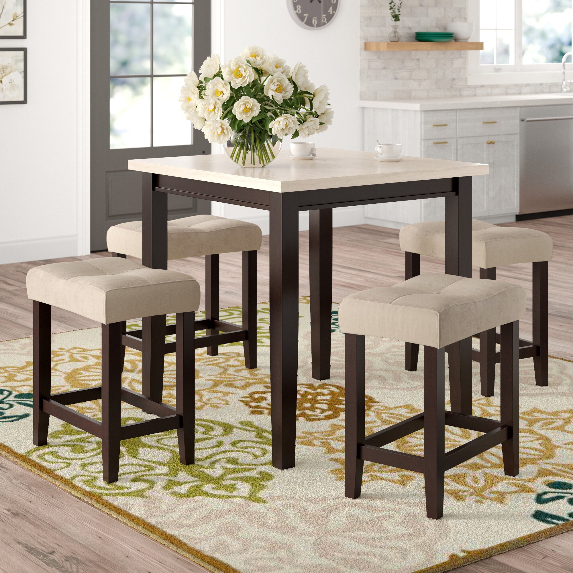 Inspiration about Winsted 4 Piece Counter Height Dining Sets For Current Red Barrel Studio Skeens 5 Piece Counter Height Dining Set & Reviews (#2 of 20)