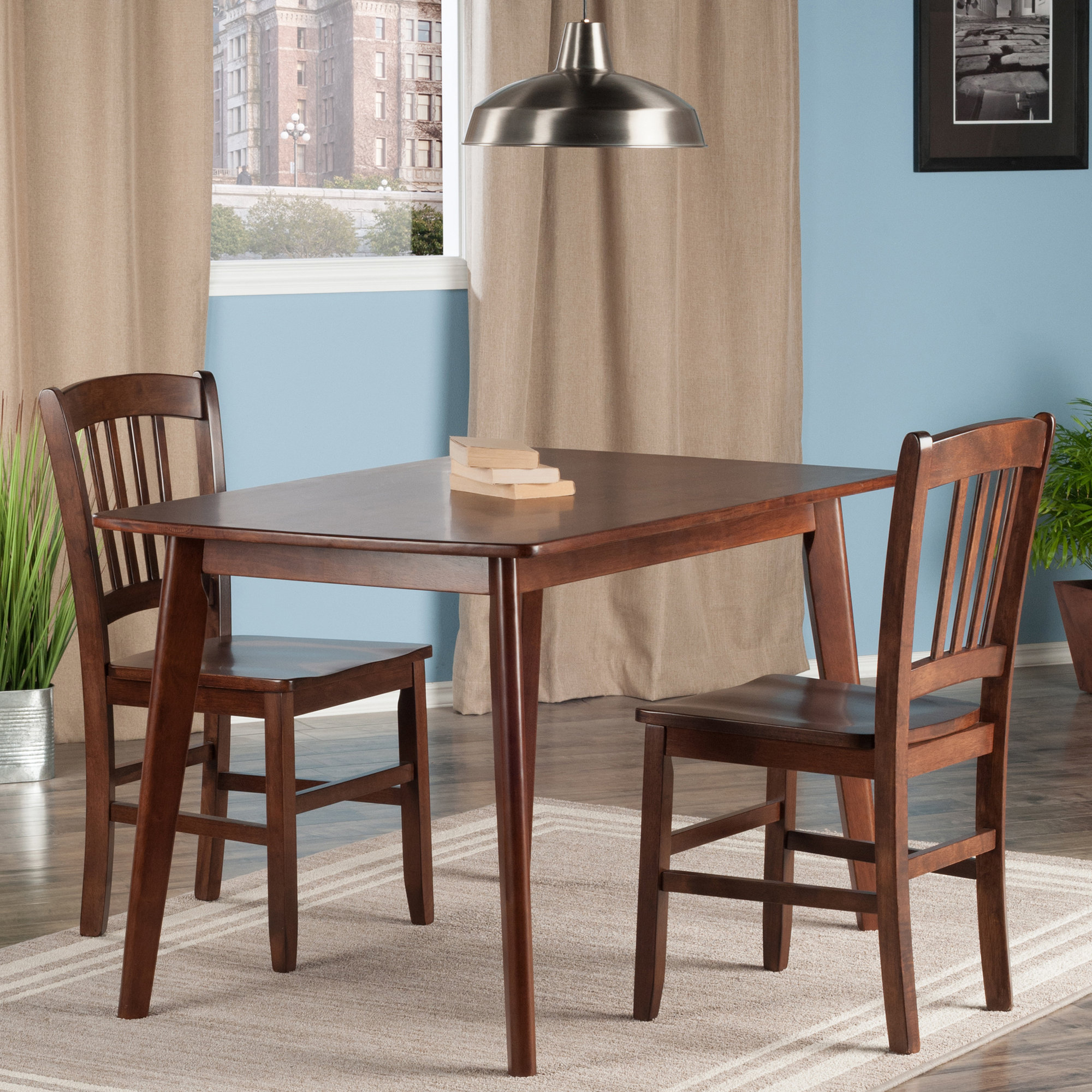 Winston Porter Guynn 3 Piece Solid Wood Dining Set Wnst1156 With 2019 Penelope 3 Piece Counter Height Wood Dining Sets (#20 of 20)
