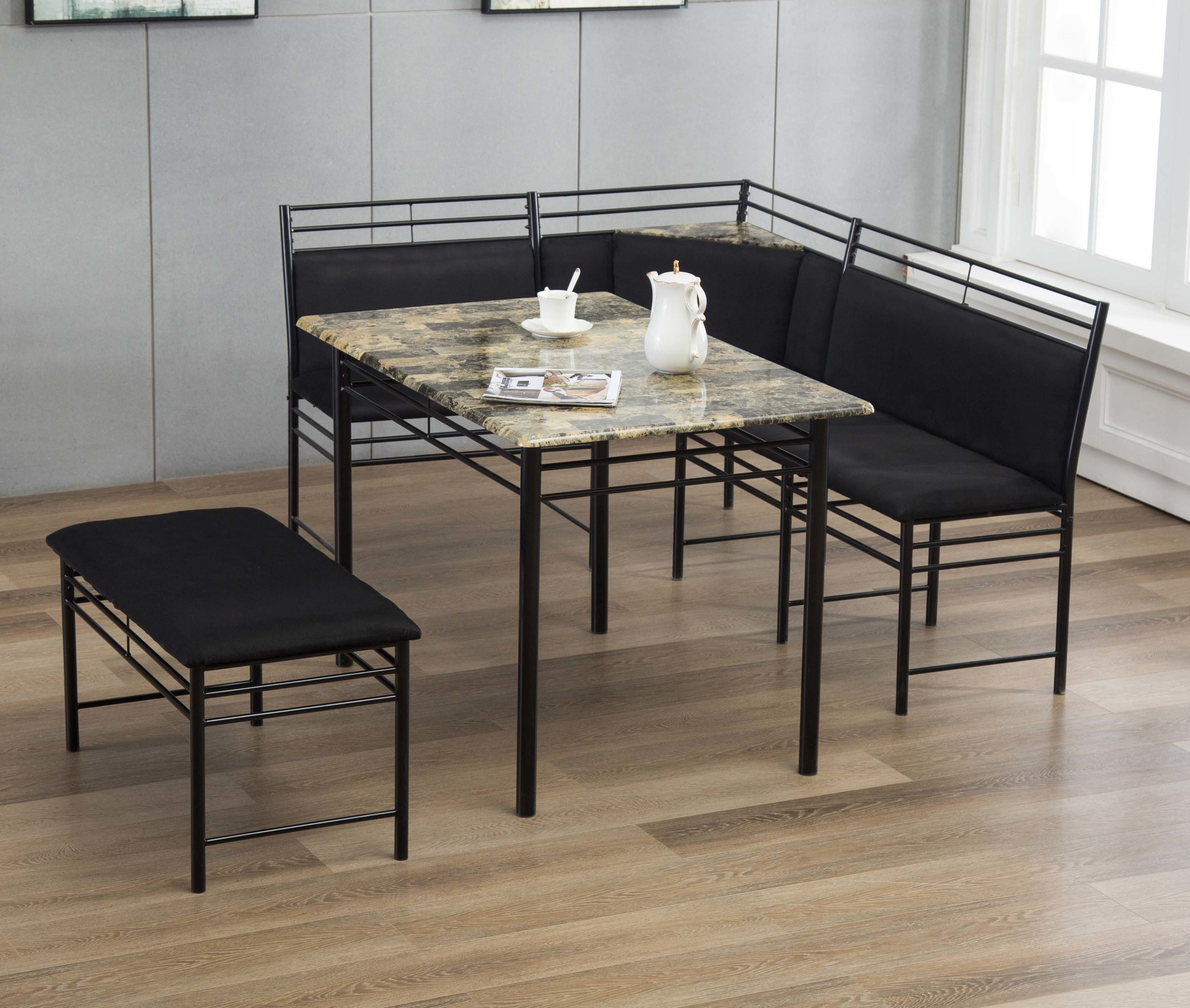 Inspiration about Winston Porter Tyrell 3 Piece Breakfast Nook Dining Set & Reviews Within Fashionable 3 Piece Breakfast Nook Dinning Set (#1 of 20)