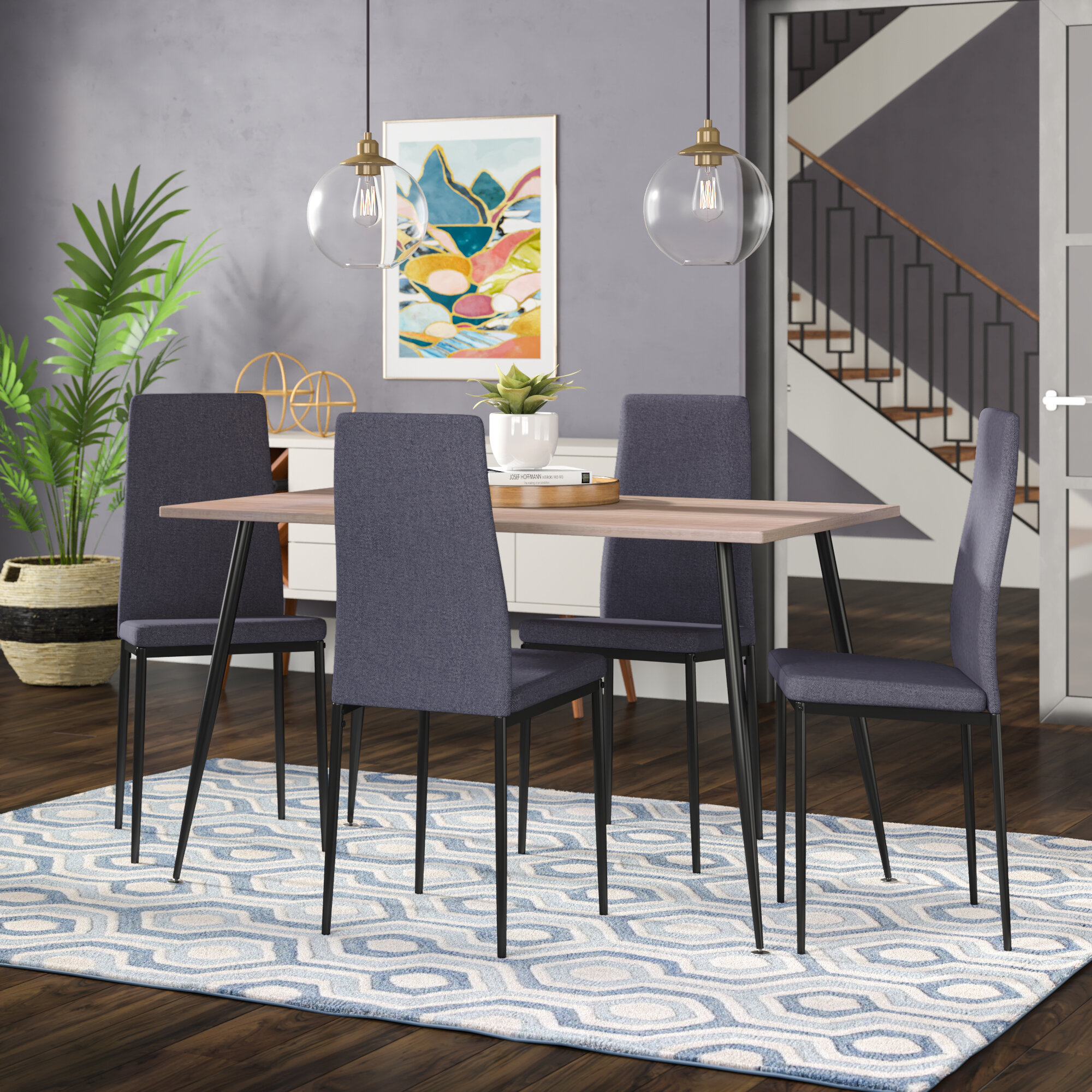 Inspiration about Wrought Studio Nieto Scandinavian Style Exotic 5 Pieces Dining Set With Regard To Fashionable Travon 5 Piece Dining Sets (#19 of 20)
