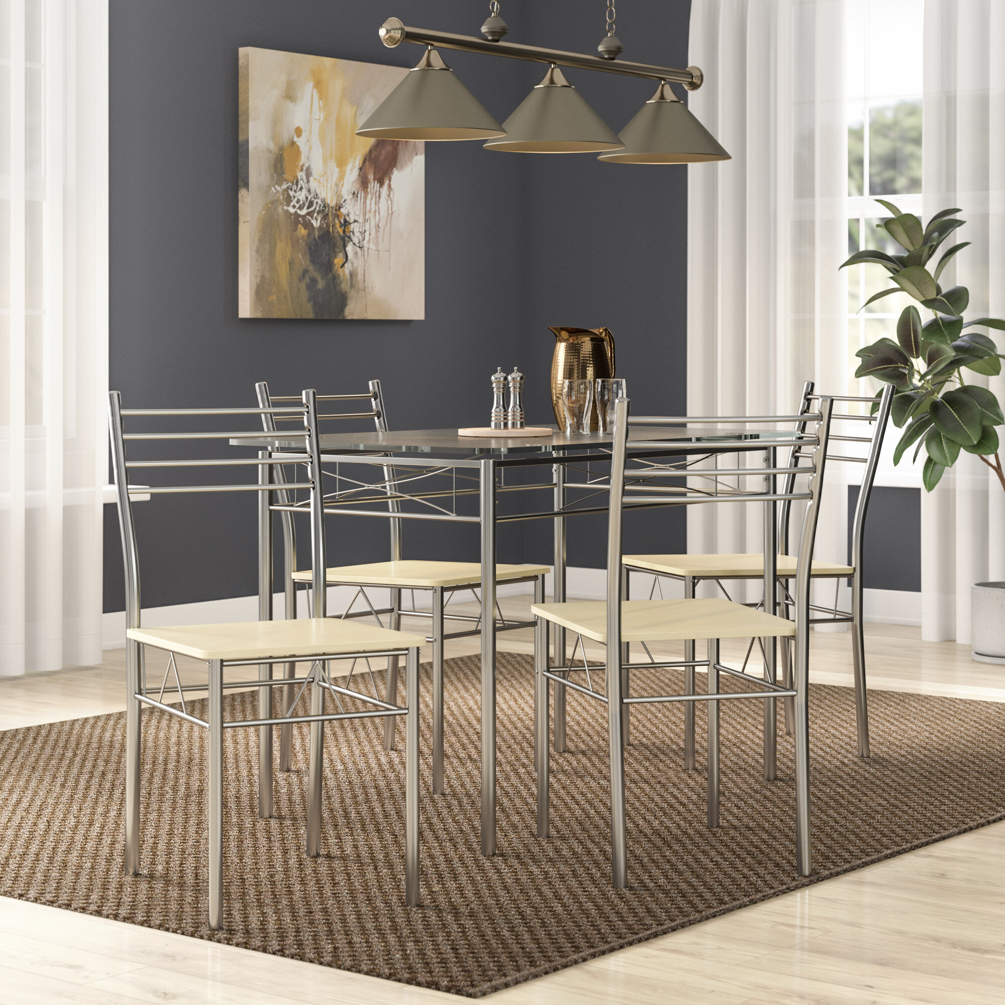 Zipcode Design North Reading 5 Piece Dining Table Set & Reviews Throughout Favorite North Reading 5 Piece Dining Table Sets (#20 of 20)