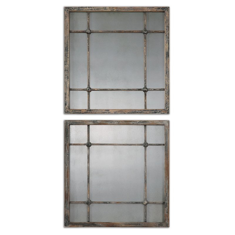 2 Piece Priscilla Square Traditional Beveled Distressed Accent Mirror Set Intended For 2 Piece Priscilla Square Traditional Beveled Distressed Accent Mirror Sets (View 4 of 20)