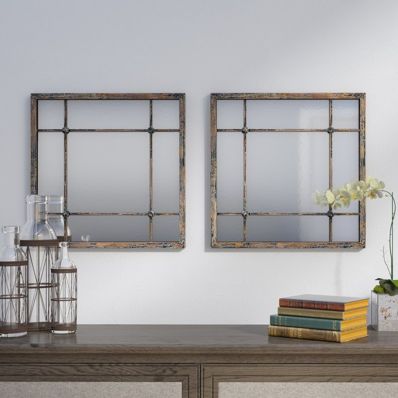 2 Piece Priscilla Square Traditional Beveled Distressed Accent Mirror Set Pertaining To 2 Piece Priscilla Square Traditional Beveled Distressed Accent Mirror Sets (View 2 of 20)