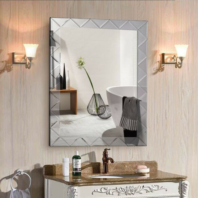 "Inspiration about 21.5"" X 30.5"" Modern Rectangle Wall Mirror Frame Angled Glass Panel Home  Decor In Modern Rectangle Wall Mirrors (#14 of 20)"