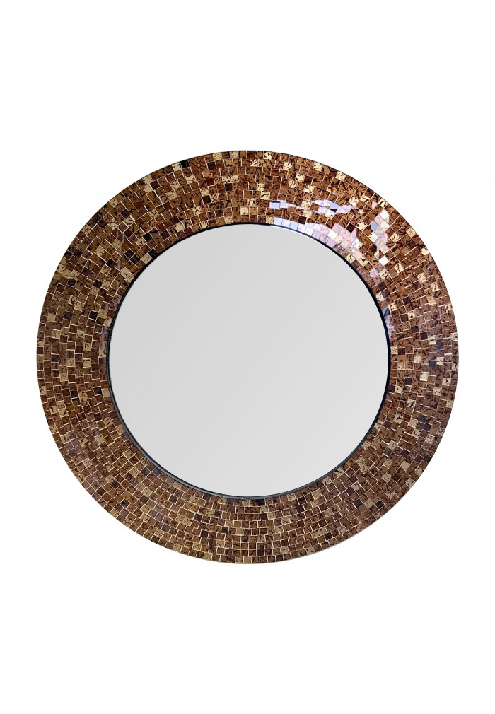 "Inspiration about 24"" Brown Traditional Decorative Mosaic Wall Mirror, Handmade Mosaic Framed  Round Accent Wall Mirrordecorshore Within Traditional/coastal Accent Mirrors (#16 of 20)"