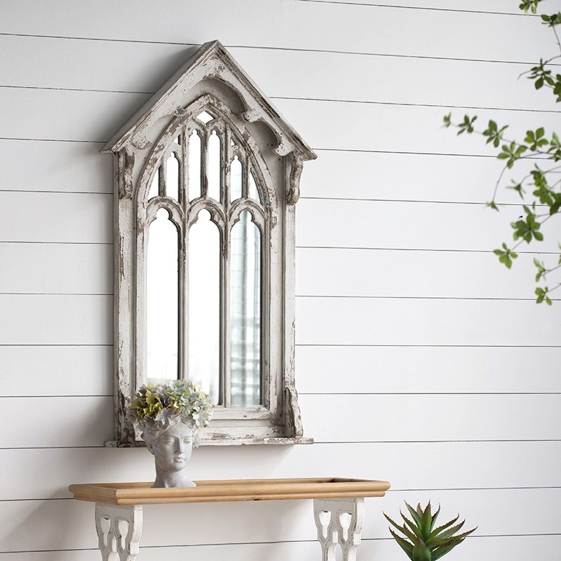 "Inspiration about 27"" Farmhouse Style Vintage Wall Mounted French Distressed White Window  Mirror Wood Accent Mirror With Wood Accent Mirrors (#12 of 20)"