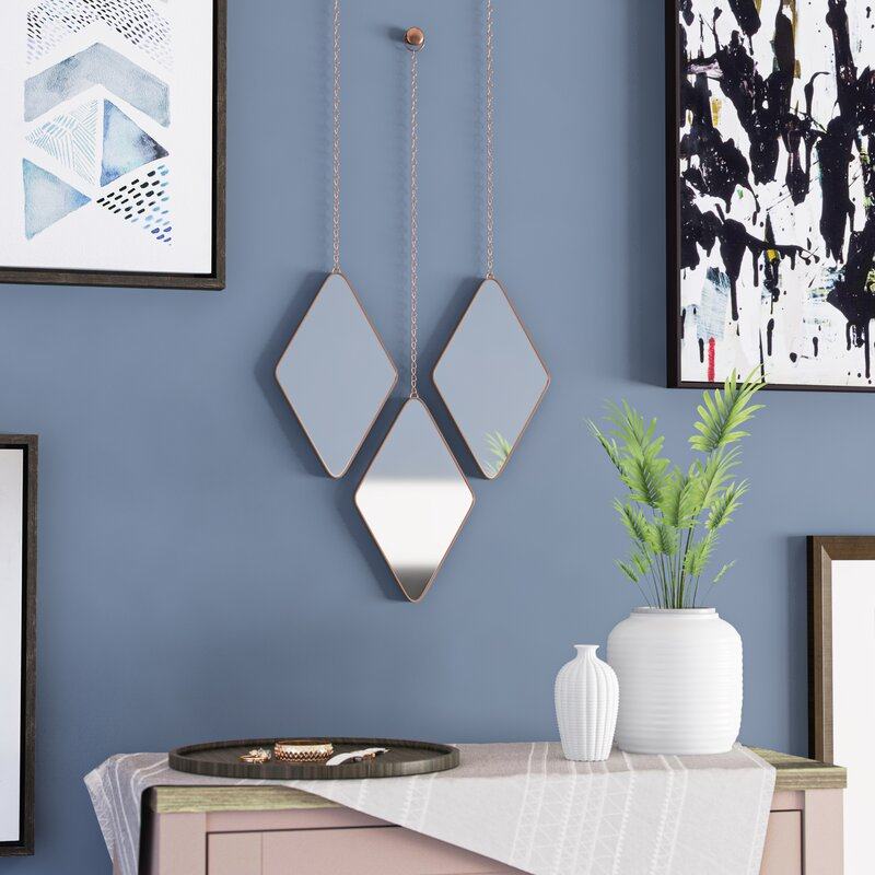 Inspiration about 3 Piece Dima Hanging Modern & Contemporary Mirror Set Within 3 Piece Dima Hanging Modern & Contemporary Mirror Sets (#9 of 20)