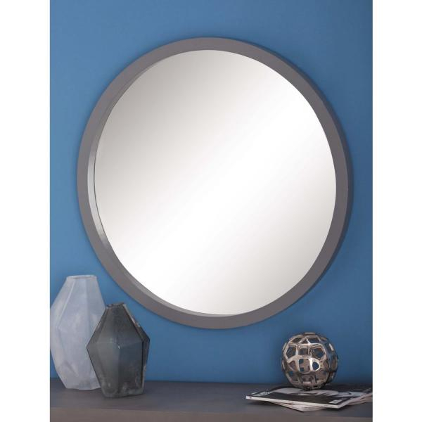 Inspiration about 32 In. Modern Round Framed Wall Mirror In Gray Within Lidya Frameless Beveled Wall Mirrors (#20 of 20)