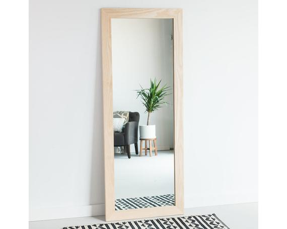 Inspiration about 34X56 Natural Blonde Ash Full Length Mirror, Floor Mirror, Wardrobe Mirror,  Leaning Mirror, Vanity Mirror, Modern, Rustic, Farmhouse With Regard To Leaning Mirrors (#19 of 20)