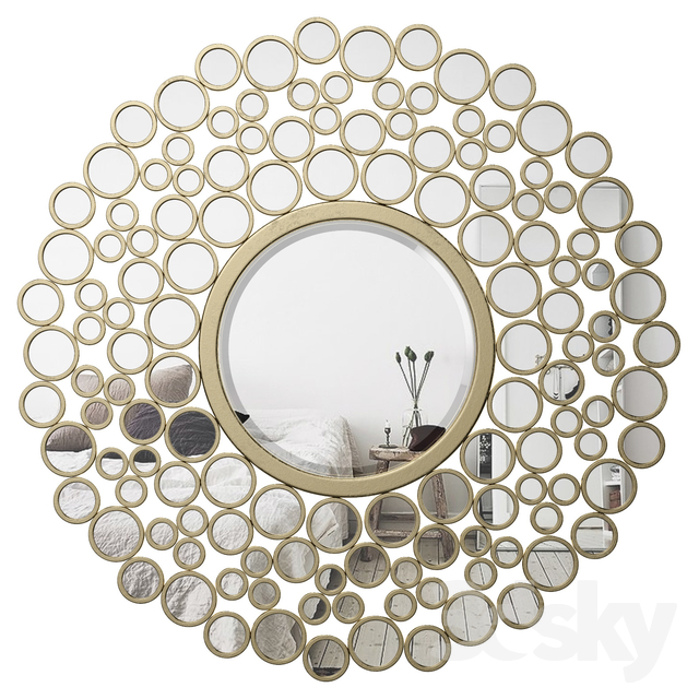 Inspiration about 3D Models: Mirror – Kentwood Round Wall Mirror Vkgl1574 For Kentwood Round Wall Mirrors (#8 of 20)
