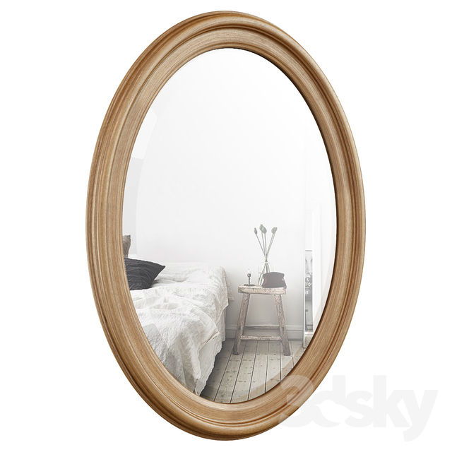 3D Models: Mirror – Oval Wood Wall Mirror Dbhc4231 Regarding Oval Wood Wall Mirrors (#1 of 20)